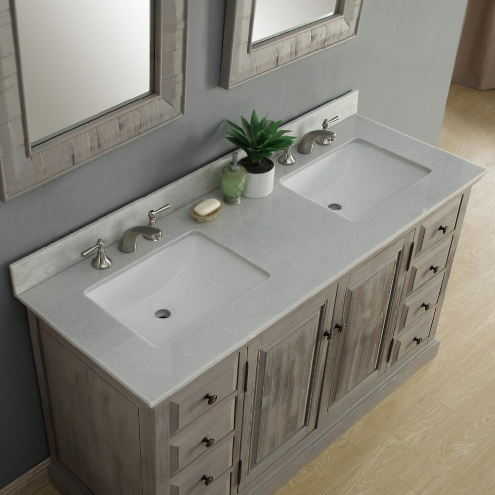 Shop Infurniture 60 Inch Rustic Driftwood Marble Quartz Double Sink Bathroom  Vanity   Free Shipping Today   Overstock.com   14162482