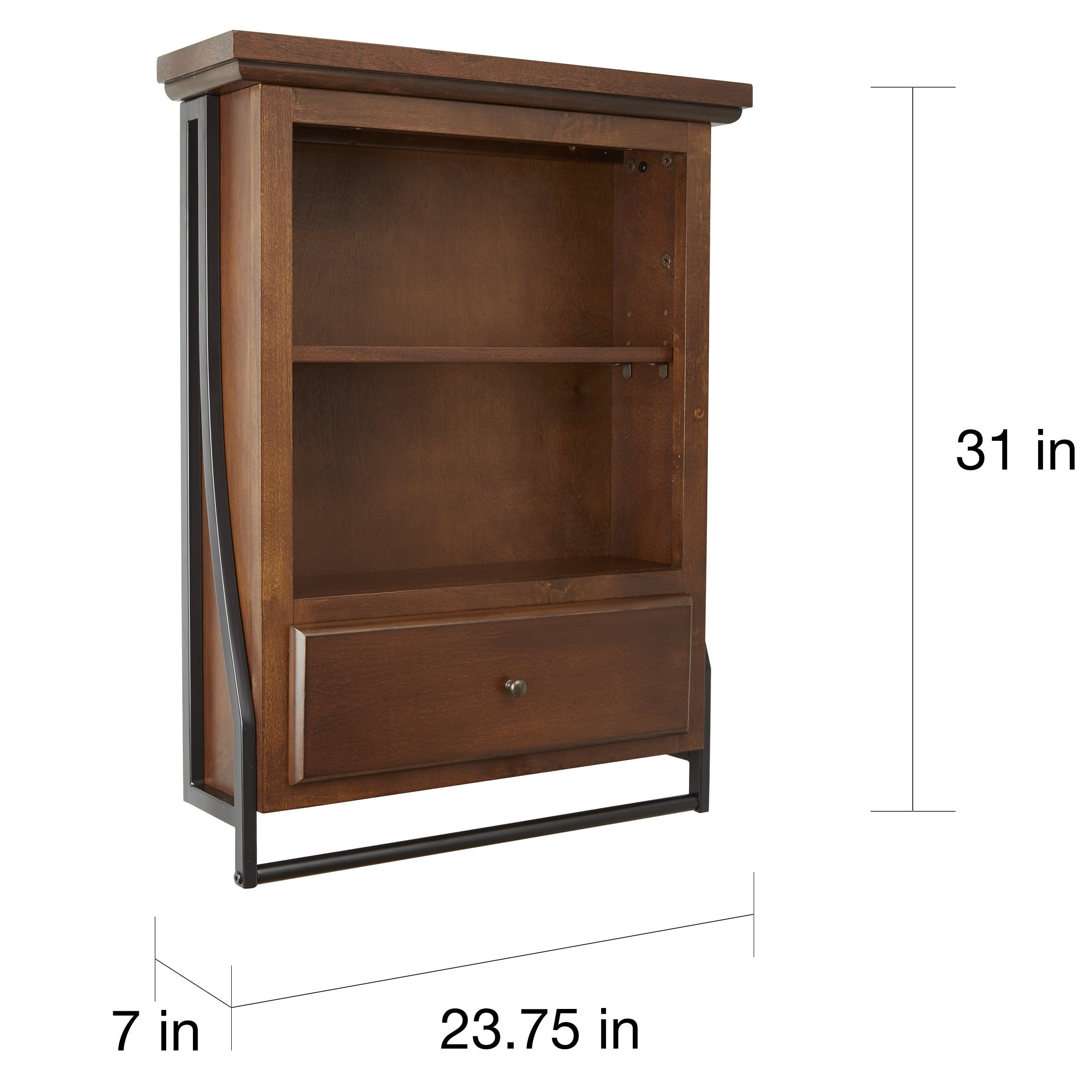 Shop Leighton Bathroom Collection 2-Tier Wall Shelf with Drawer ...