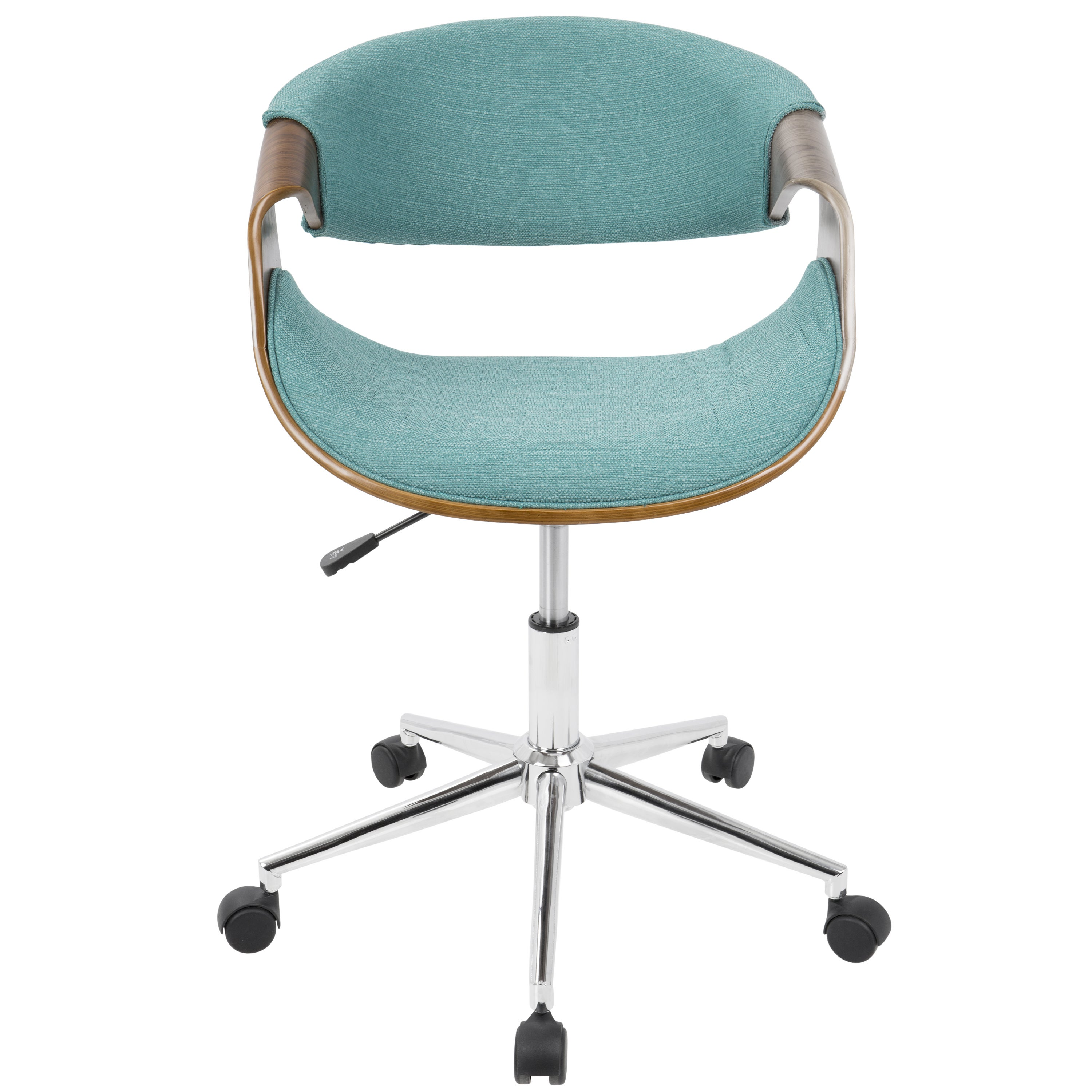 Shop Curvo Mid Century Modern Office Chair In Walnut Wood And Woven Fabric    Free Shipping Today   Overstock.com   14163367