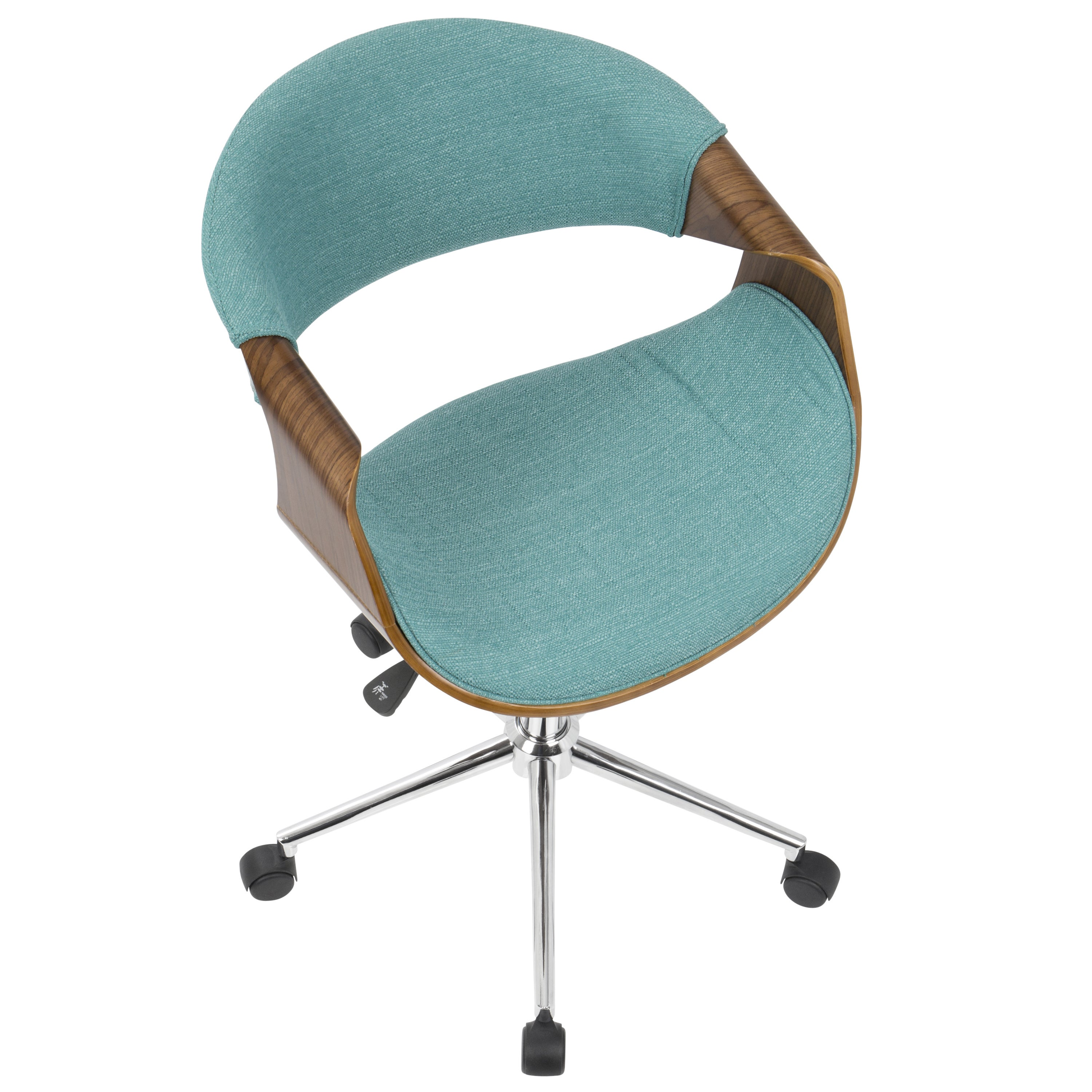 Curvo Mid Century Modern Office Chair In Walnut Wood And Woven Fabric On Free Shipping Today 14163367