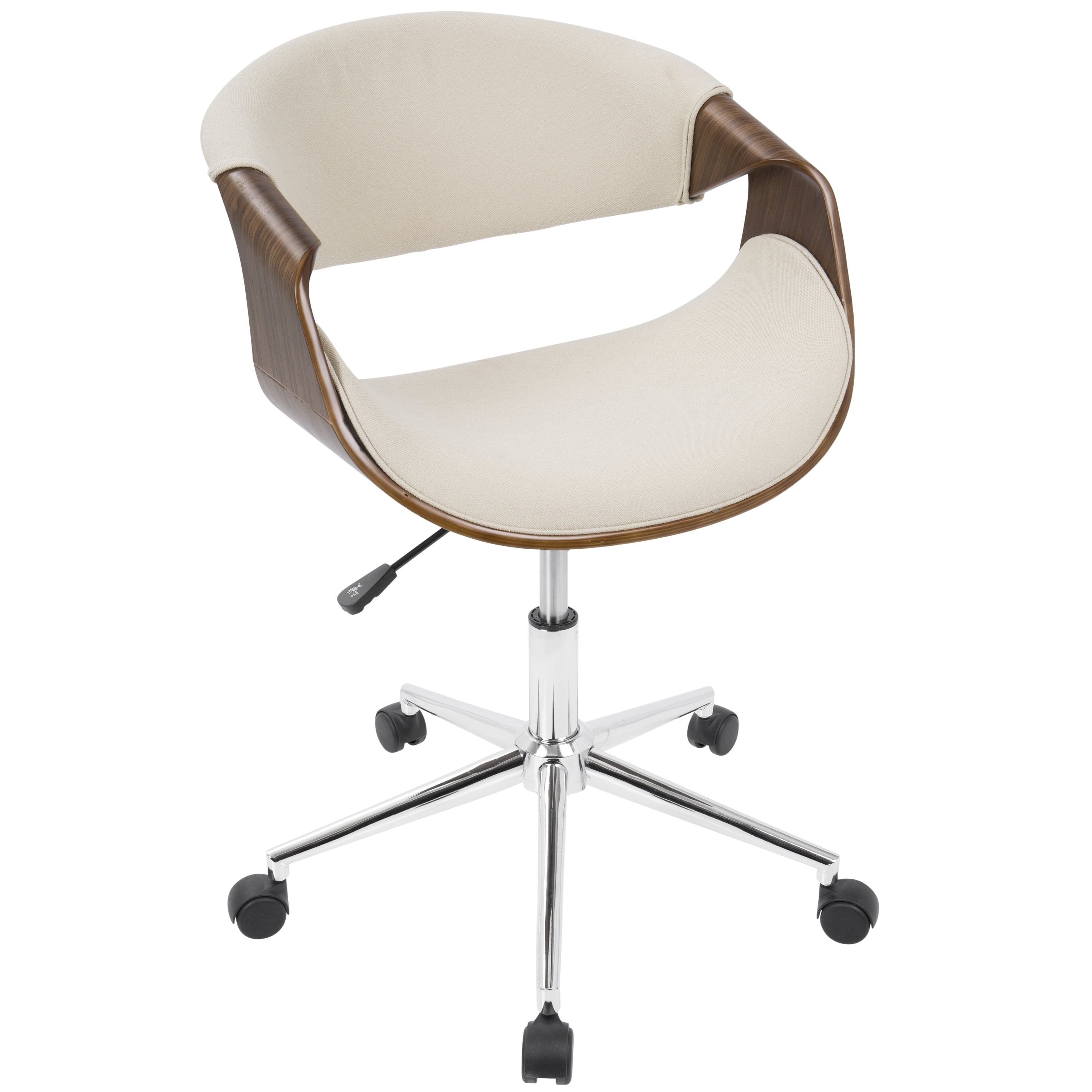 Curvo mid century modern office chair in walnut wood and woven fabric