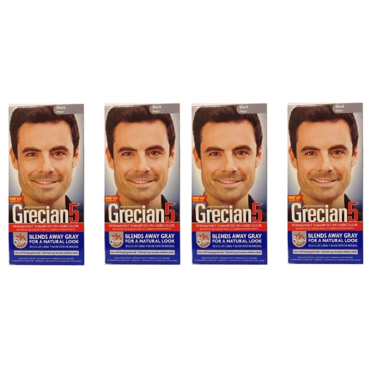 Shop Just Mens Grecian 5 Permanent Shampoo In Haircolor Black
