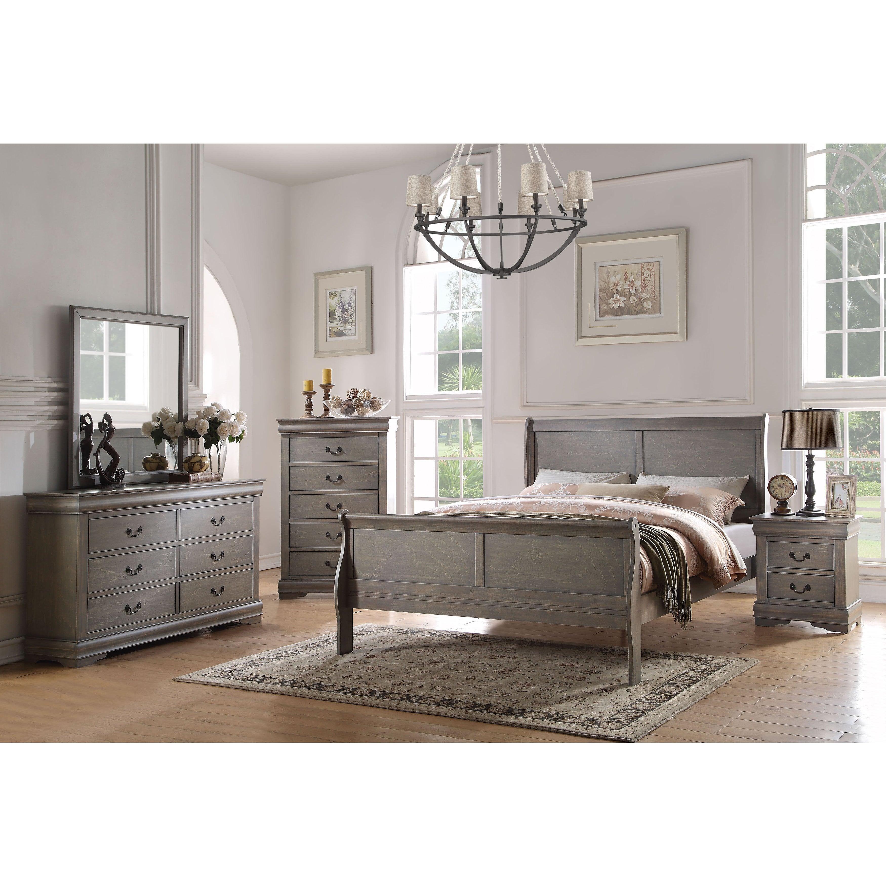 Shop Acme Furniture Louis Philippe 4 Piece Bedroom Set Antique Gray