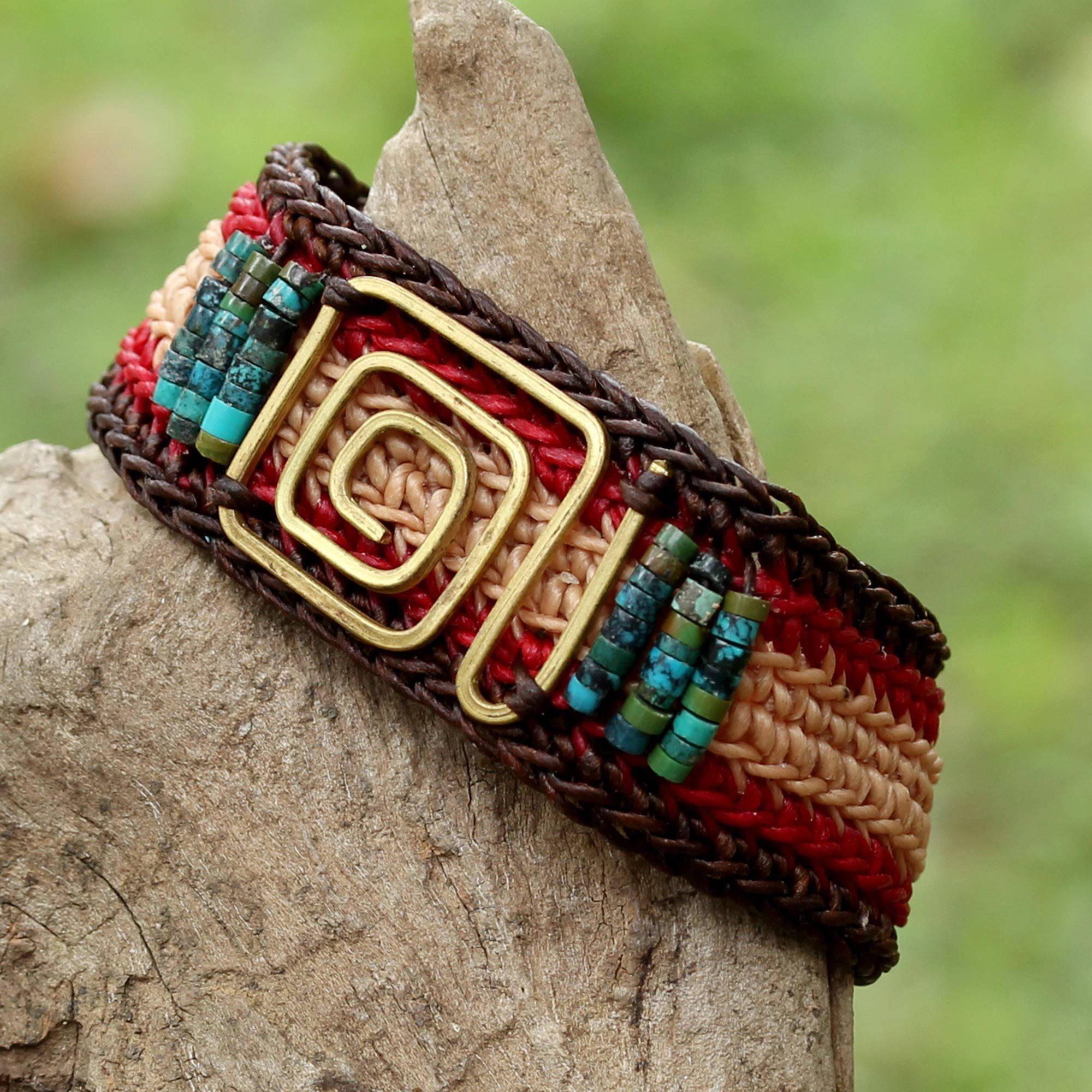 Handmade Brass \'Siam Maze\' Turquoise Bracelet (Thailand) - Free ...