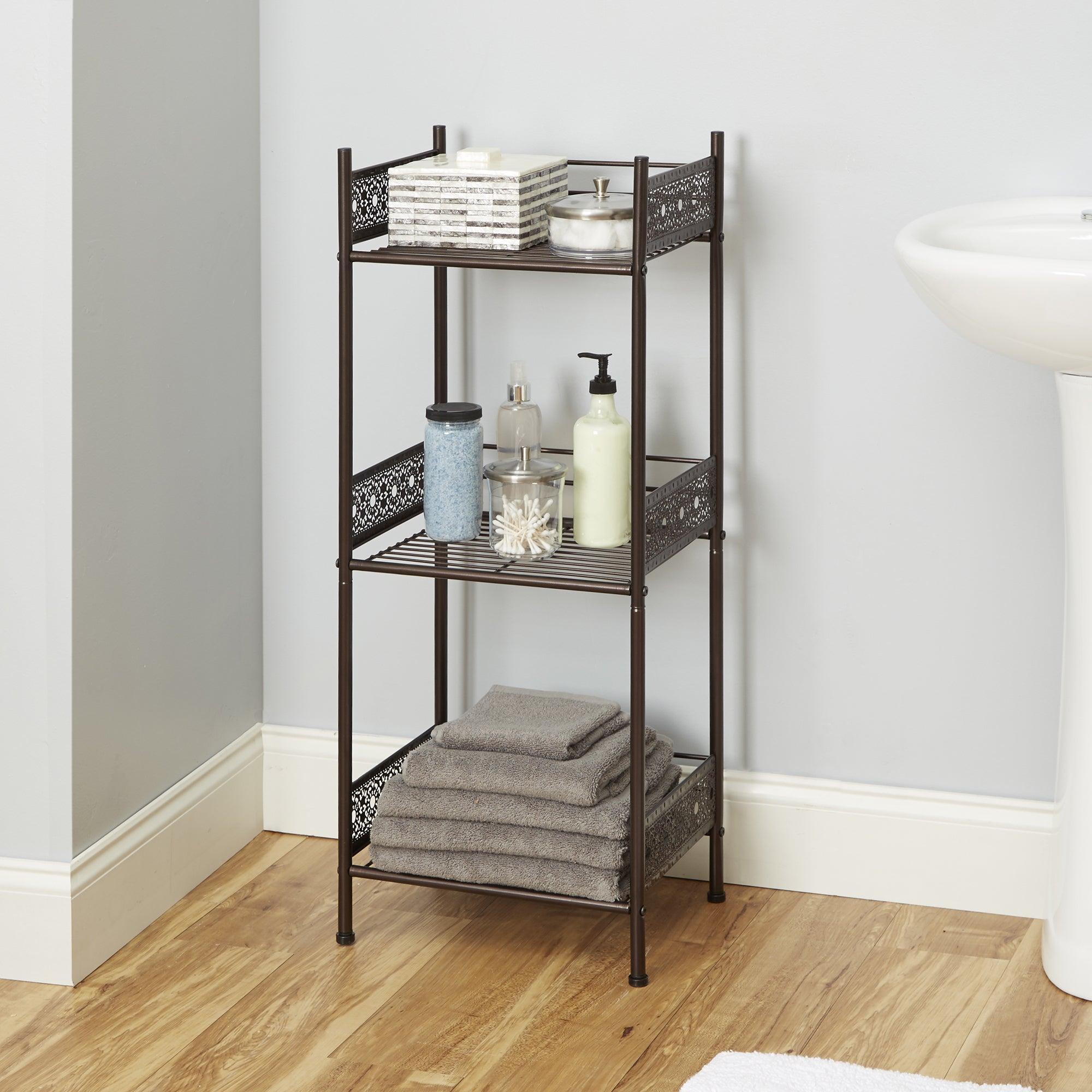 shop filigree bathroom collection floor shelf free shipping today rh overstock com