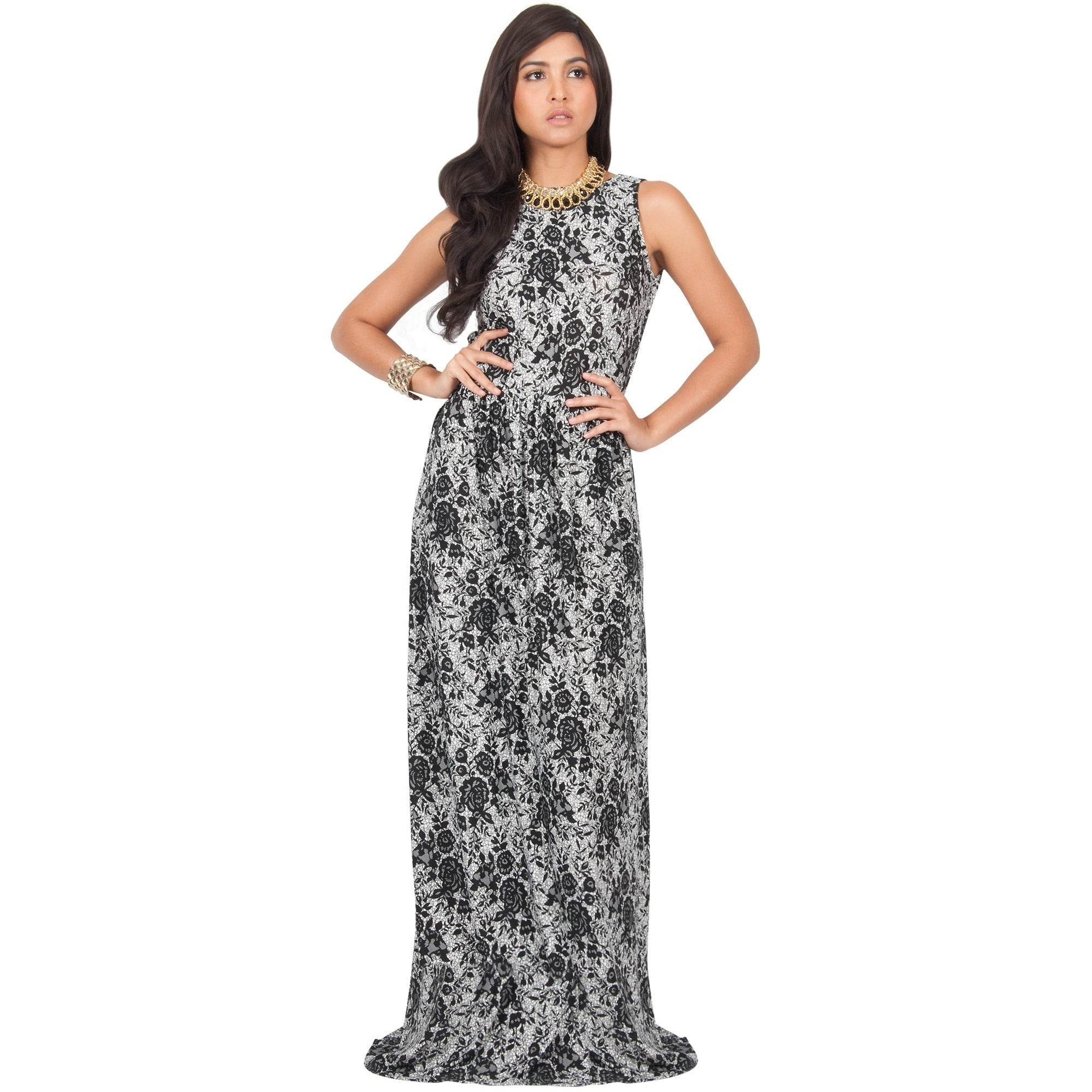 cc7f3eeddd1c KOH KOH Women s Summer Floral Prints Cocktail Vintage Sleeveless Long Maxi  Dress