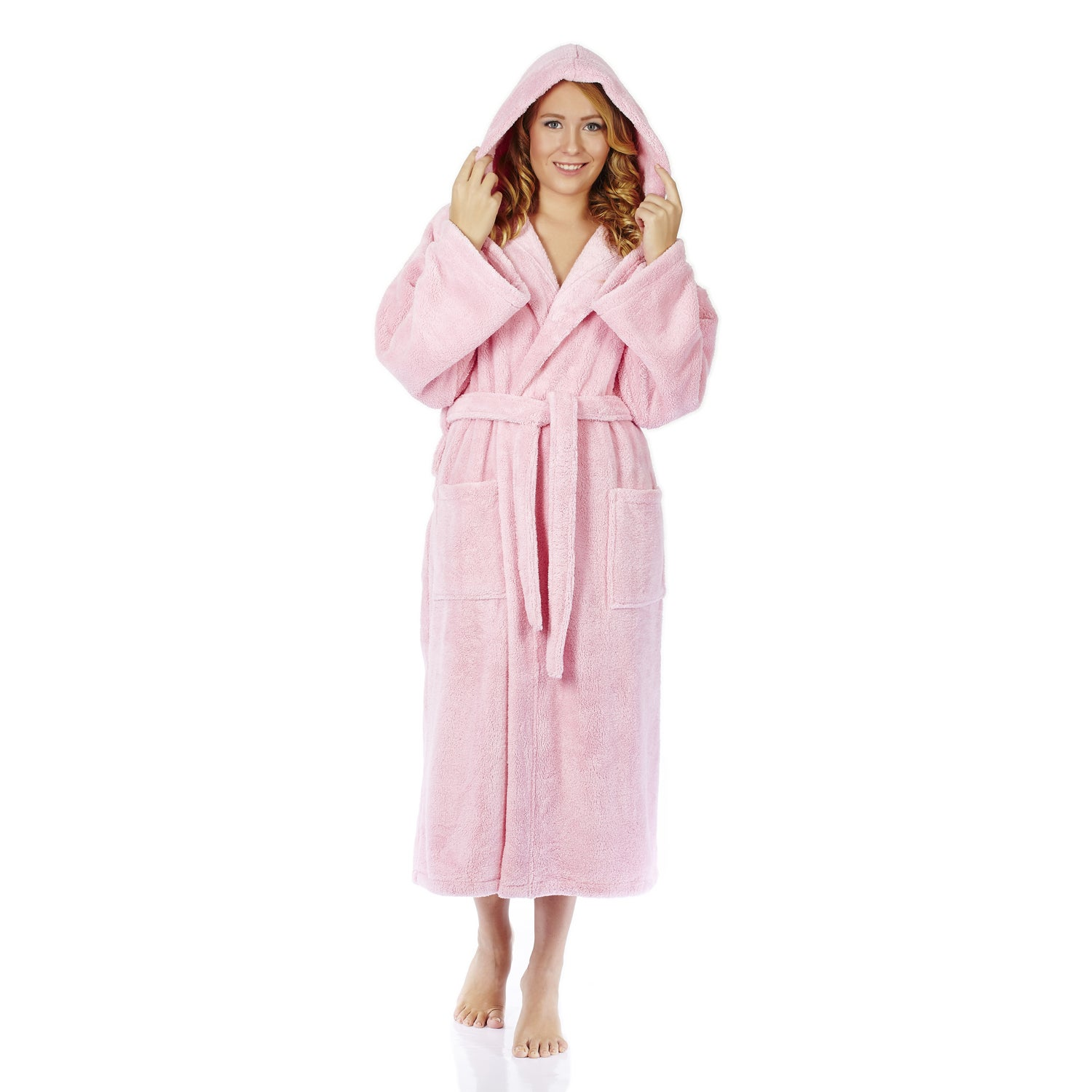 ed06c39151 Shop Women s Hooded Fleece Bathrobe Turkish Soft Plush Robe - Free Shipping  On Orders Over  45 - Overstock - 14172940