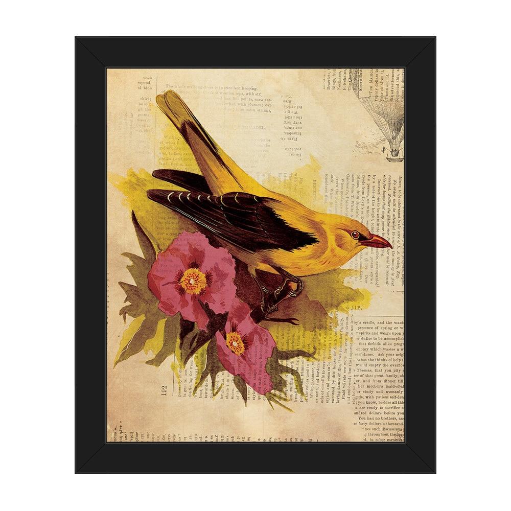 Goldfinch Fuchsia Flowers\' Framed Canvas Wall Art - Free Shipping ...