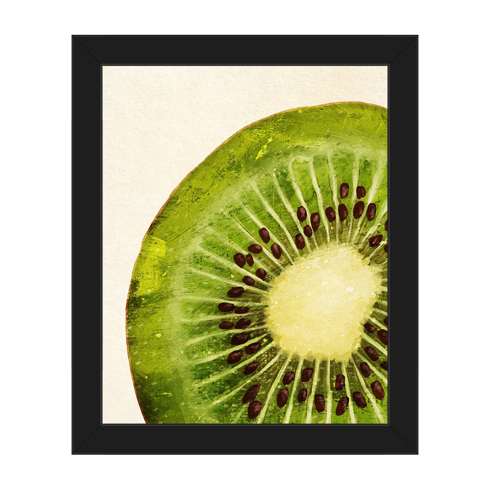 Painted Kiwi Slice\' Framed Canvas Wall Art - Free Shipping Today ...