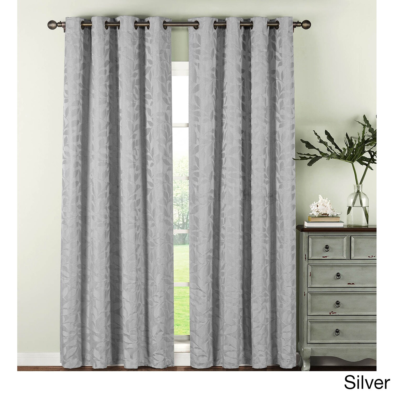 Shop Window Elements Alpine Textured Woven Leaf Jacquard Grommet 96 In Curtain Panel Pair