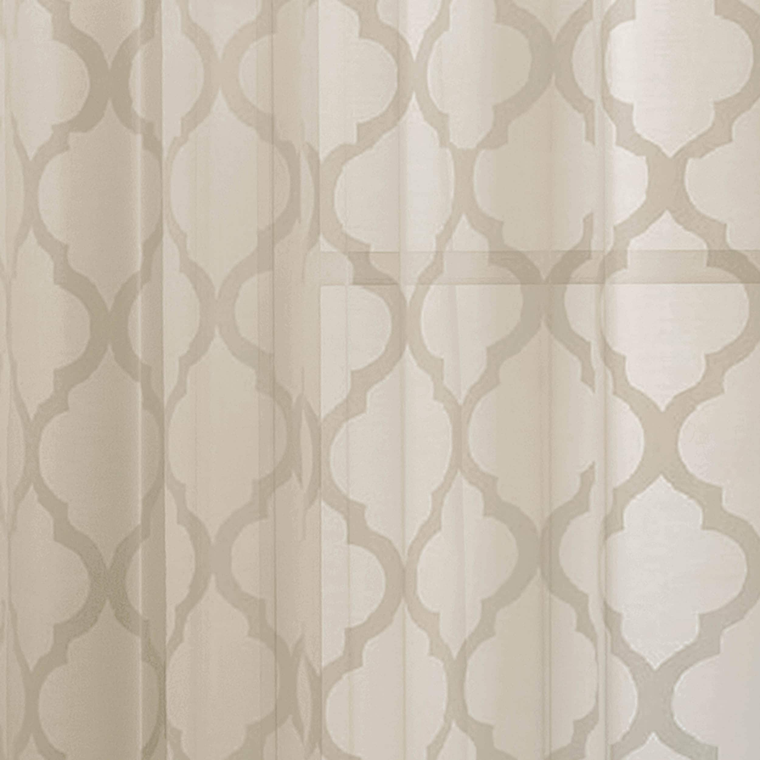 Window Elements Lattice Cotton and Polyester 84-inch Burnout Sheer ... for Sheer Curtains Texture  59jwn