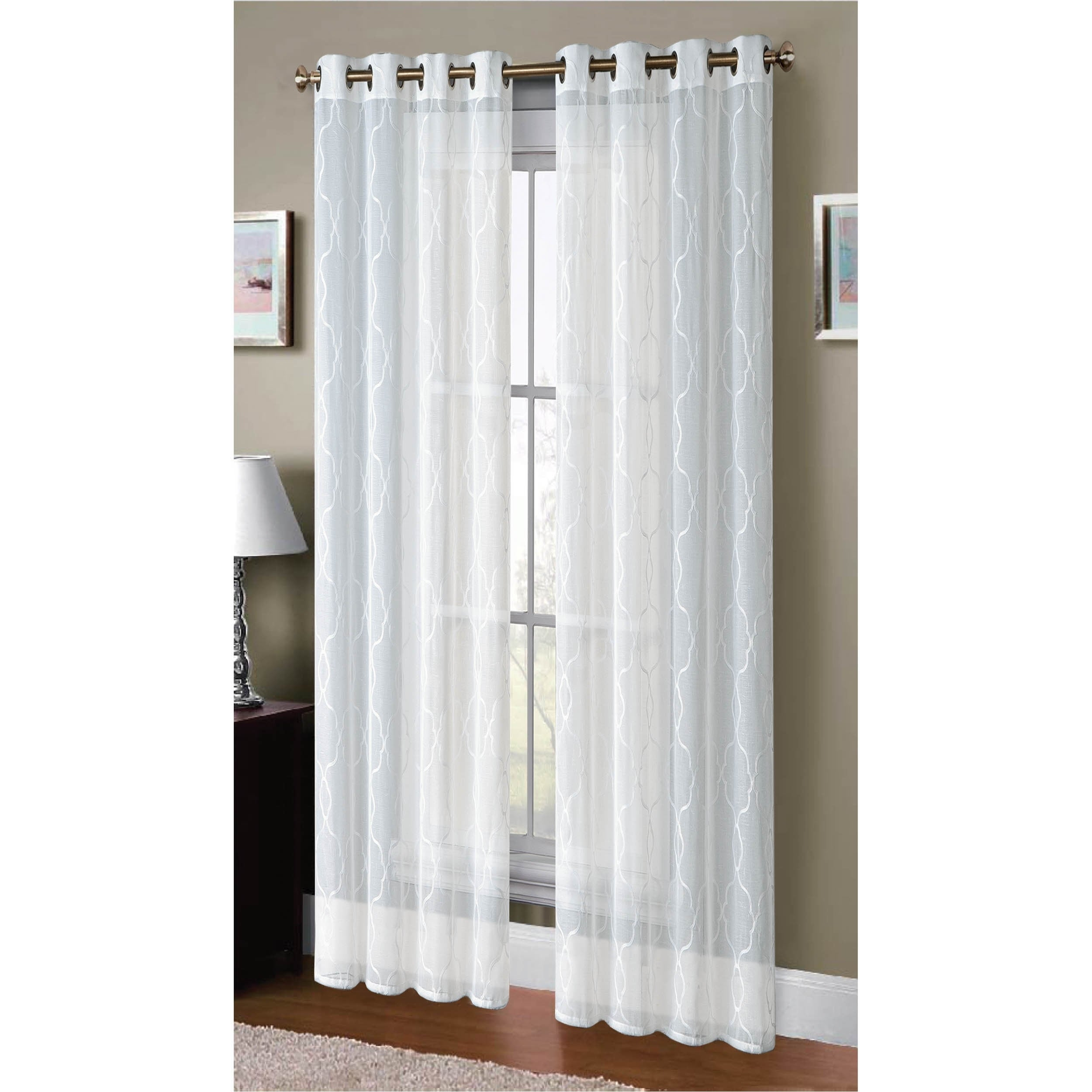 grommets white polyester dfohome escape curtains grommet curtain sheer with outdoor xx