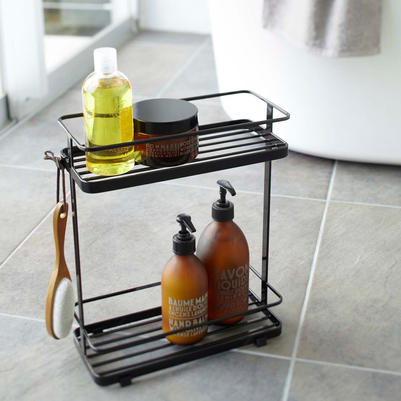 Tower White/ Black Bath Rack by Yamazaki Home - Free Shipping On ...