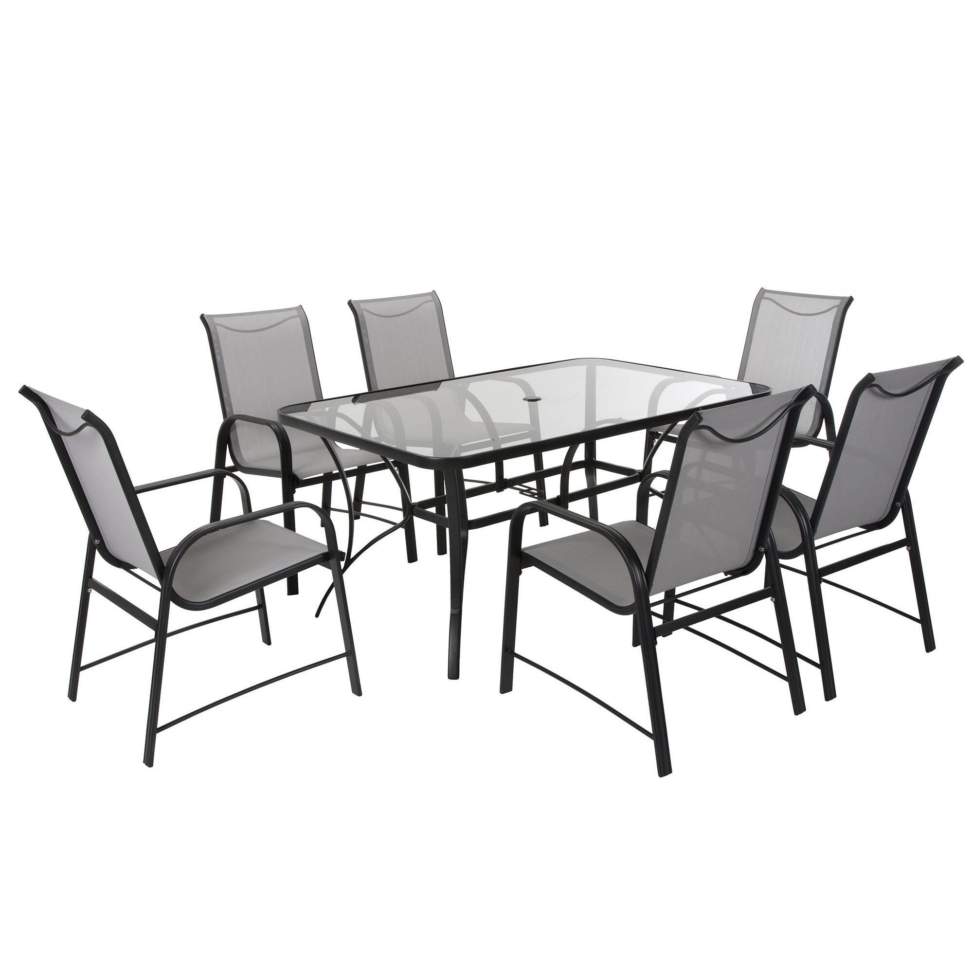 c5470e1ceda2 Shop COSCO Outdoor Living 7-piece Paloma Steel Grey Patio Dining Set with Tempered  Glass Table Top - Free Shipping Today - Overstock - 14174226