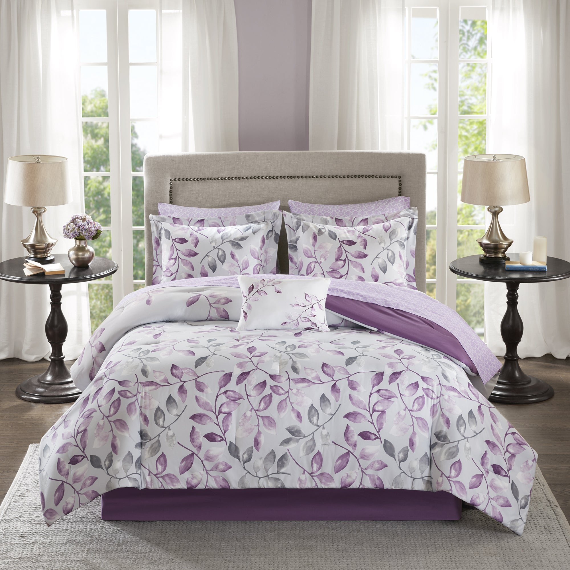 Shop Madison Park Essentials Eden Purple Printed Complete Comforter And  Cotton Sheet Se   Ships To Canada   Overstock.ca   14174428