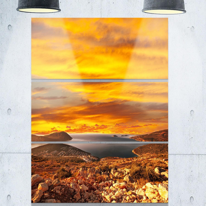 Designart \'Beautiful Landscape under Yellow Sky\' Landscape Glossy ...