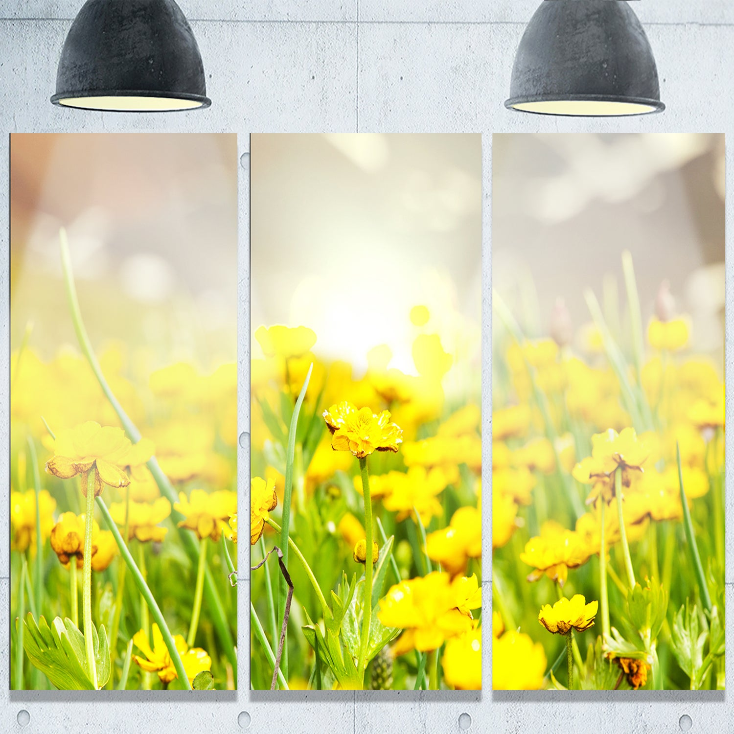 Designart \'Sunny Meadow with Yellow Flowers\' Floral Glossy Metal ...