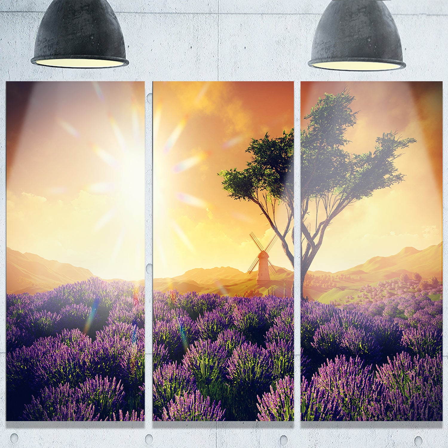 Designart \'Lavender Field with Solitary Tree\' Extra Large Landscape ...