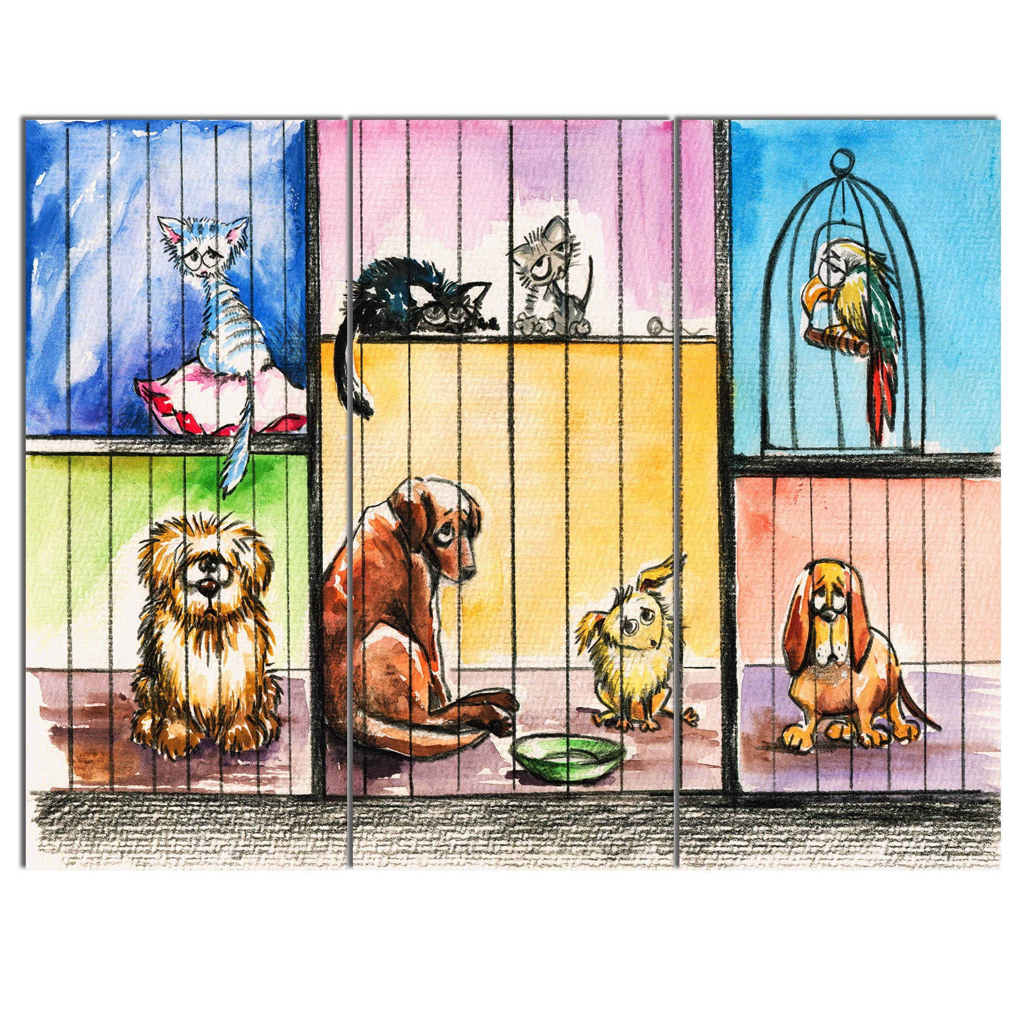 Shop Designart \'Sad Animals in the Pound\' Animal Metal Wall Art - On ...