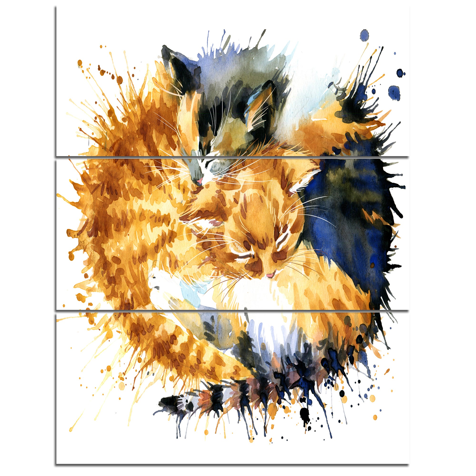 Designart \'Cute Kitten Graphical Illustration\' Animal Glossy Metal ...