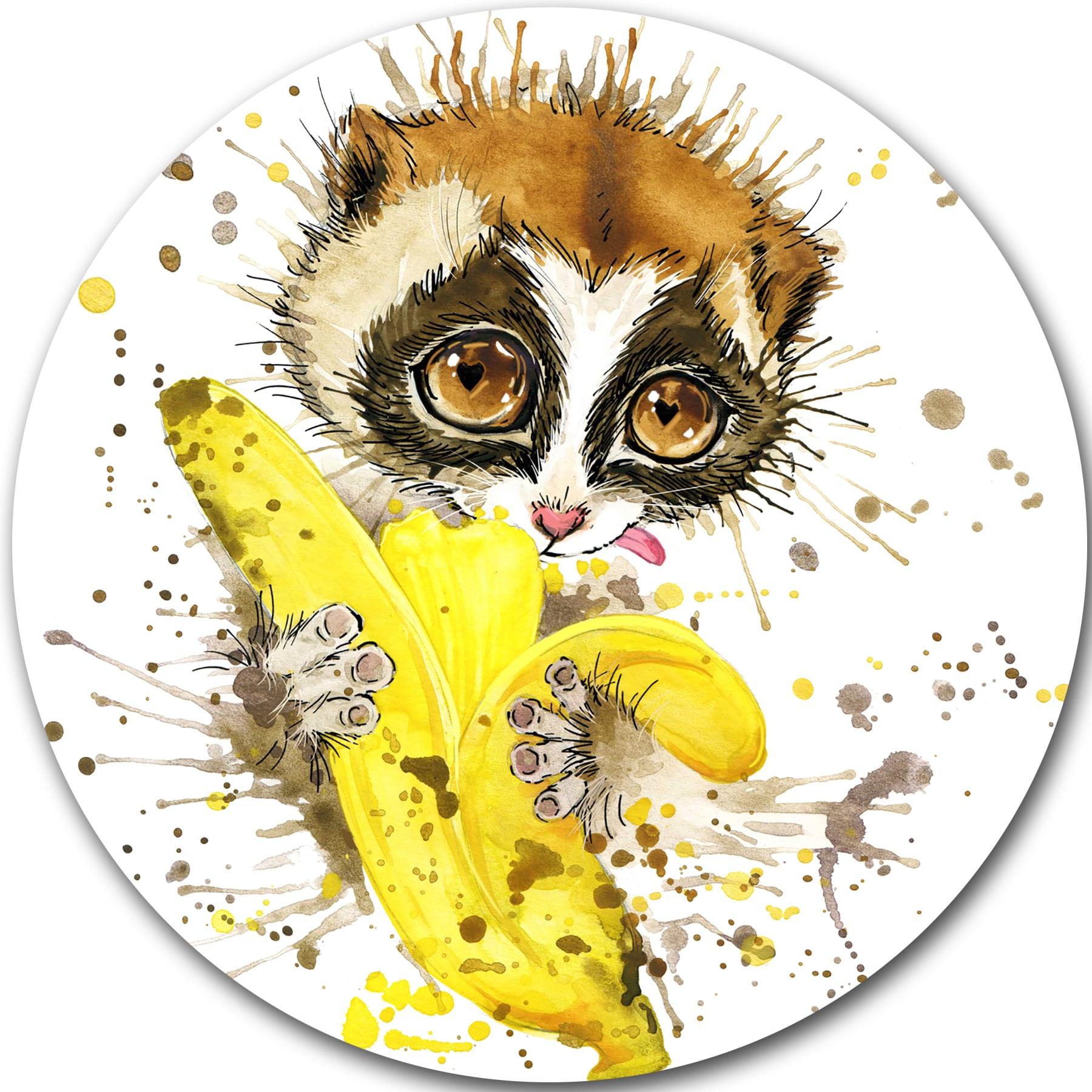 Shop Designart \'Lemur Eating Banana Graphics Art\' Animal Glossy ...