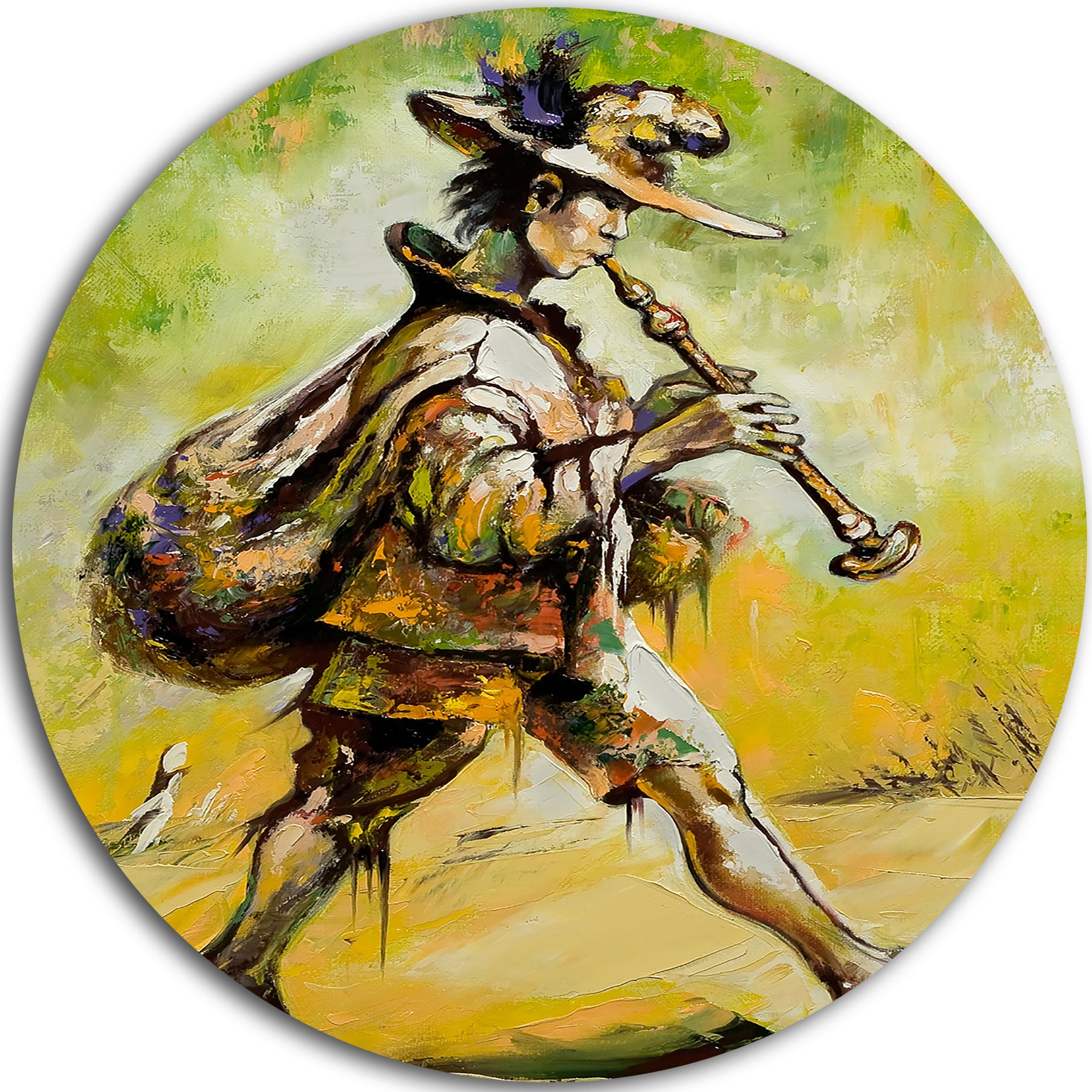 Designart \'Wandering Troubadour with Pipe\' Music Glossy Large Disk ...