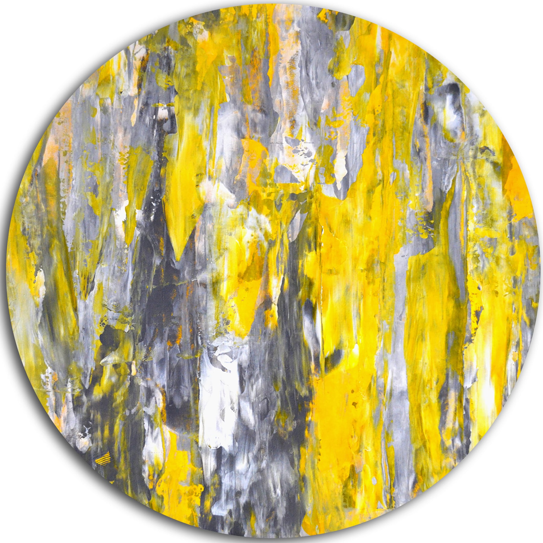 Designart \'Grey and Yellow Abstract Pattern\' Abstract Glossy Large ...