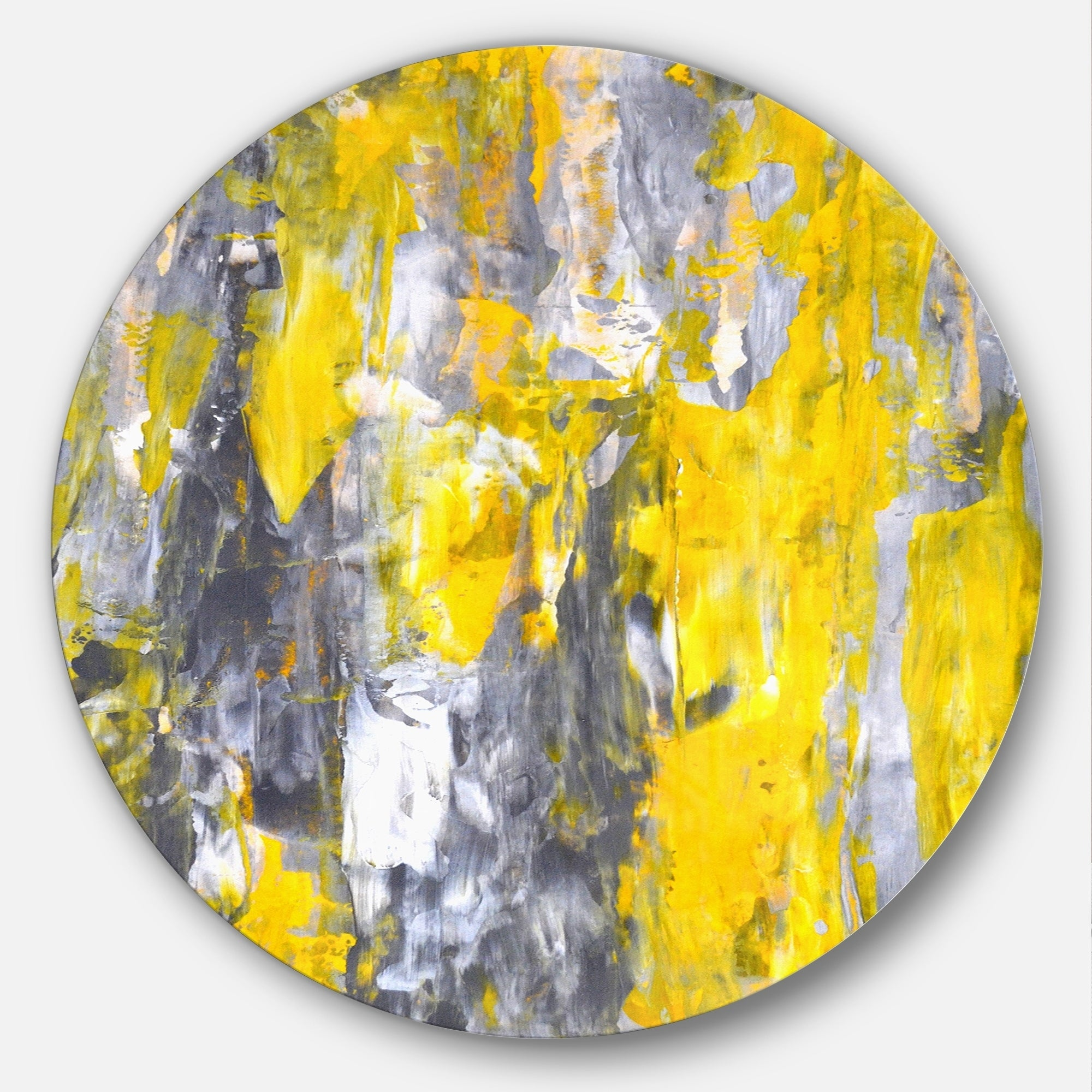 Shop Designart \'Grey and Yellow Abstract Pattern\' Abstract Glossy ...