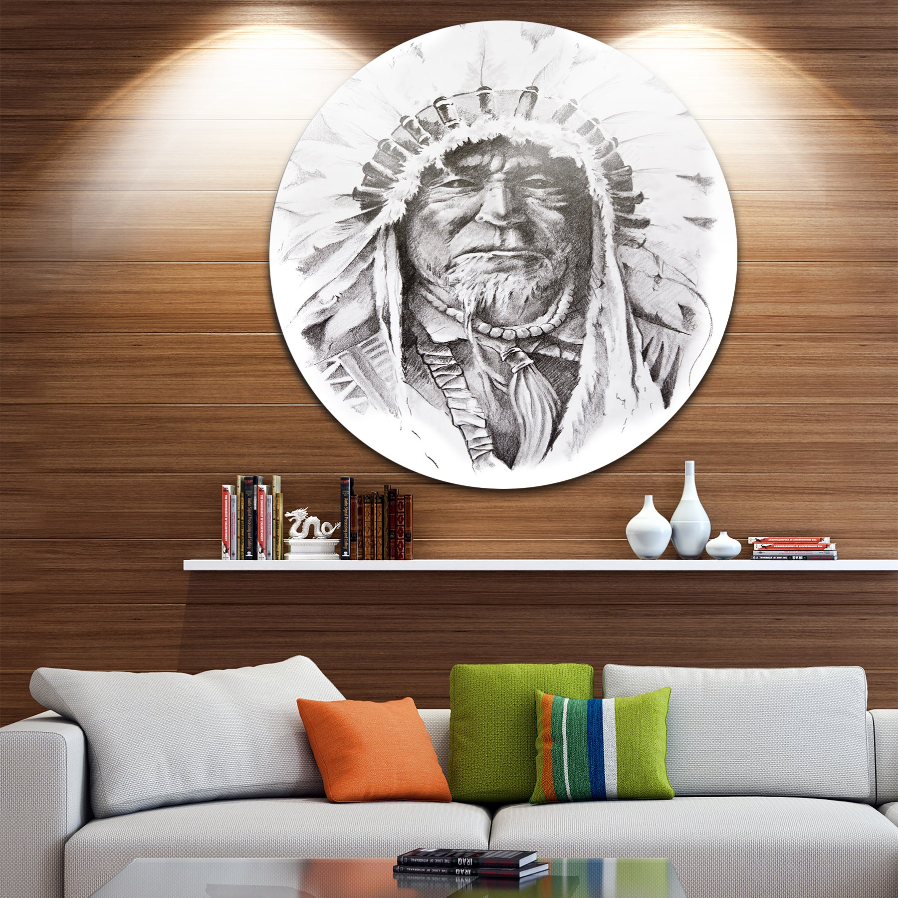 Designart Native American Indian Portrait Glossy Large Disk Metal Wall Art On Free Shipping Today 14185043