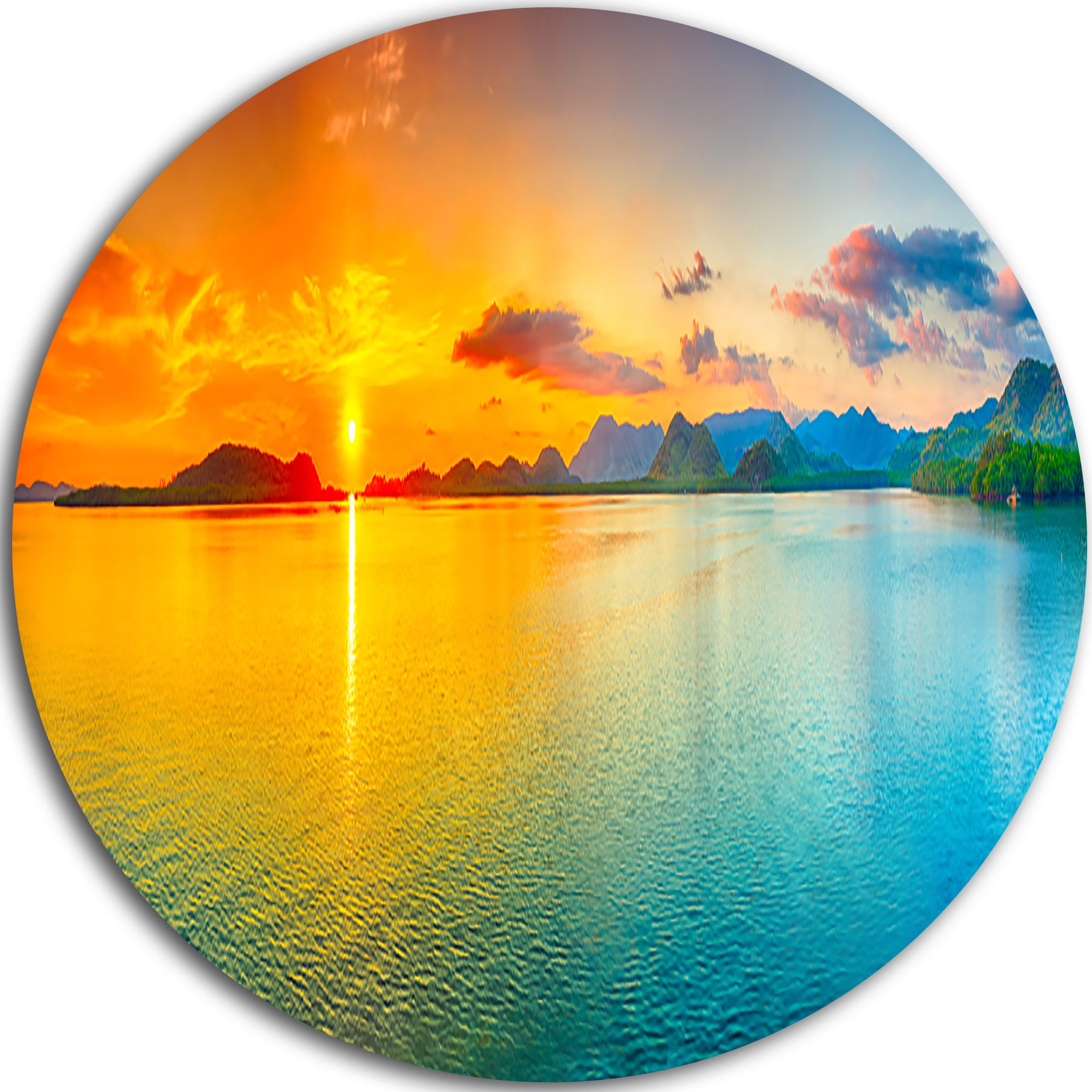 Designart \'Bright Sunset Panorama\' Photography Round Metal Wall Art ...