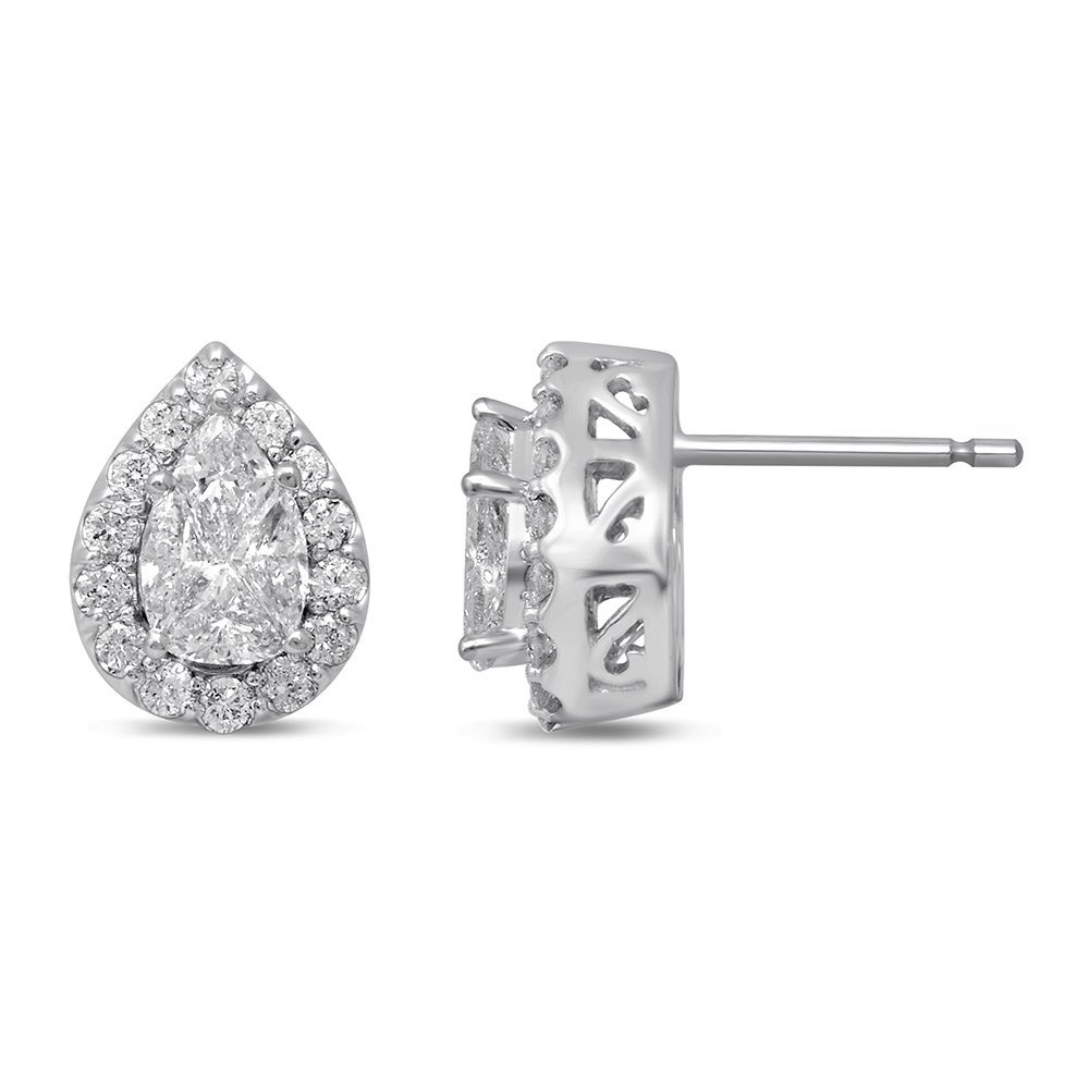 82fb595667b4e0 Shop Unending Love 14k White Gold 1ct TDW Pear-cut Fashion Diamond Earrings  (H-I, I1-I2) - On Sale - Free Shipping Today - Overstock - 14192199