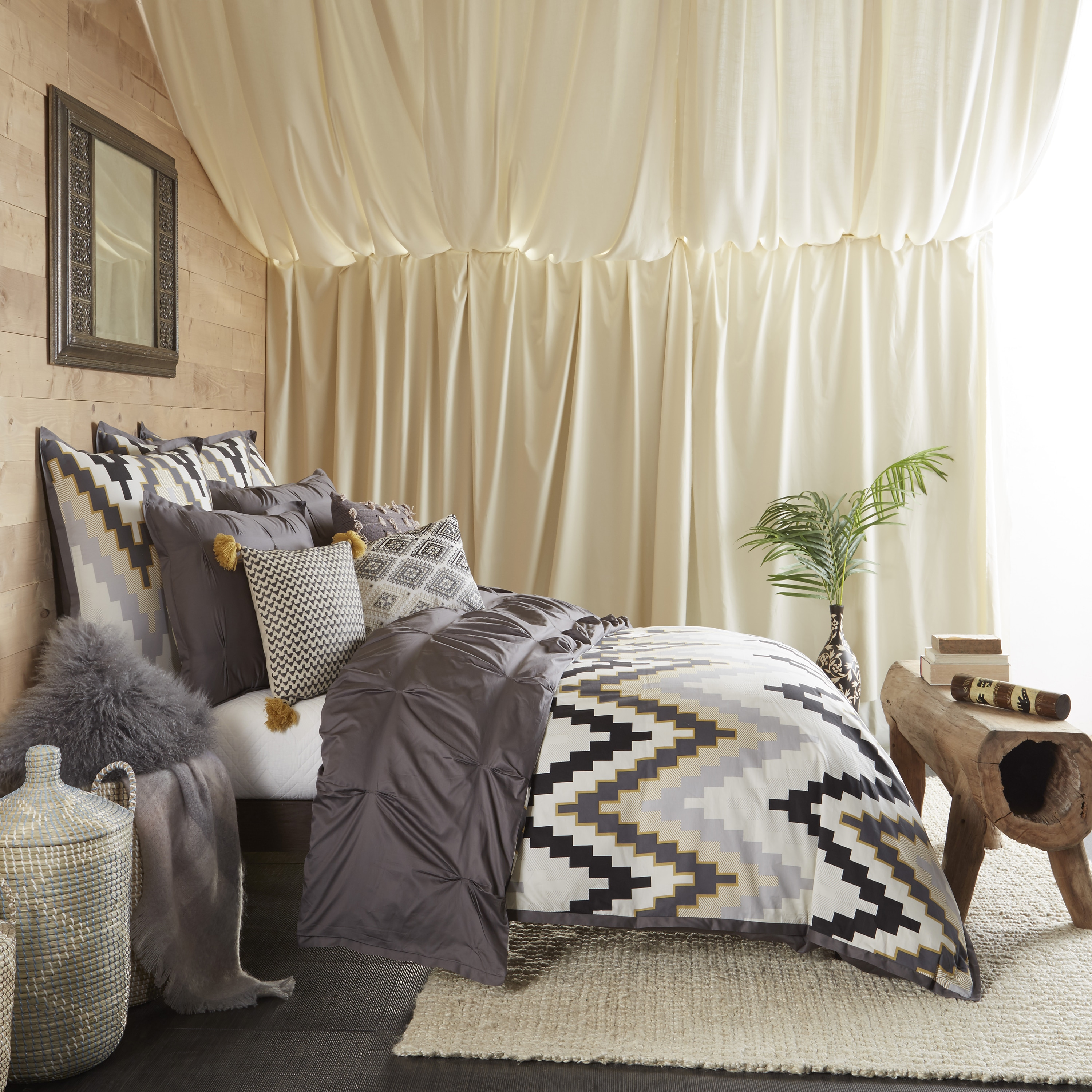 Blissliving Home 3 Piece Tanzania Harper Pewter Duvet Cover Set   Free  Shipping Today   Overstock   20788726
