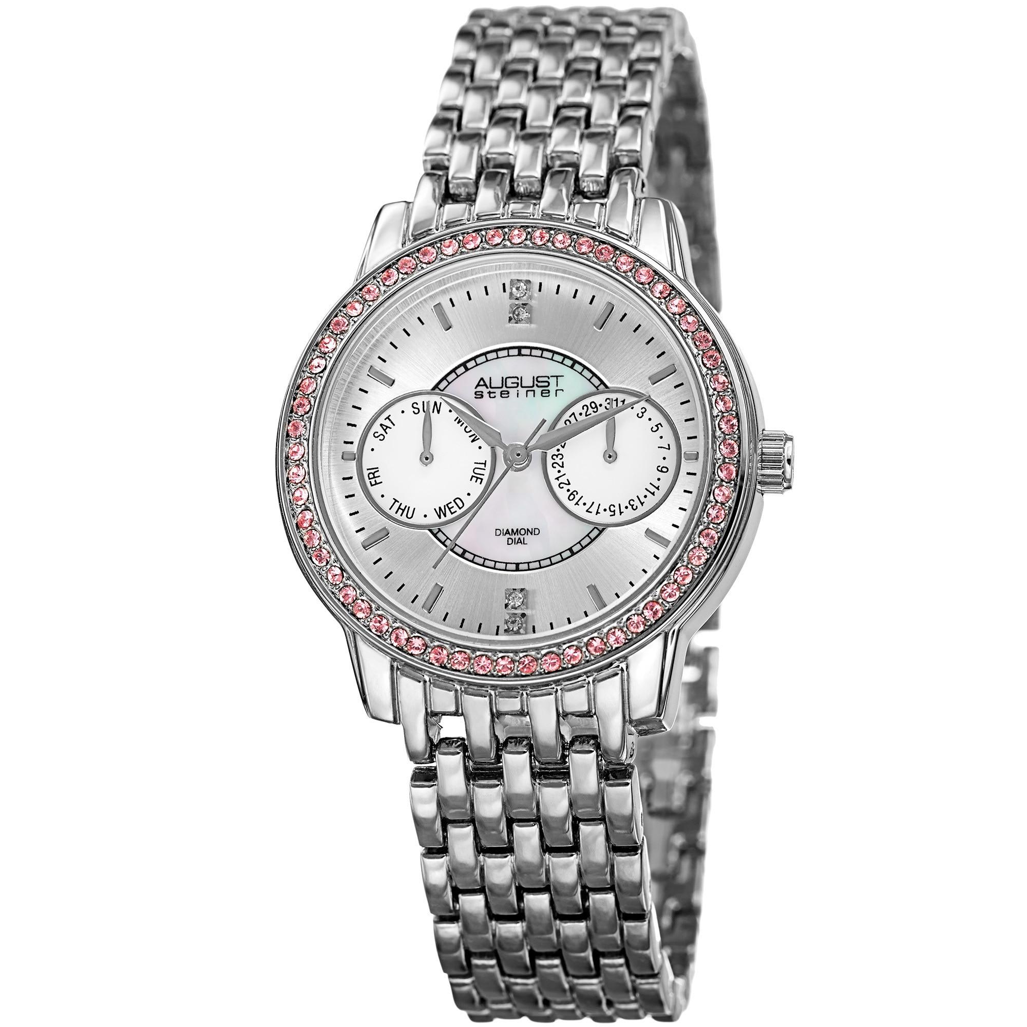 315b8a38c221 August Steiner Women s Quartz Multifunction Diamond Silver-Tone Bracelet  Watch