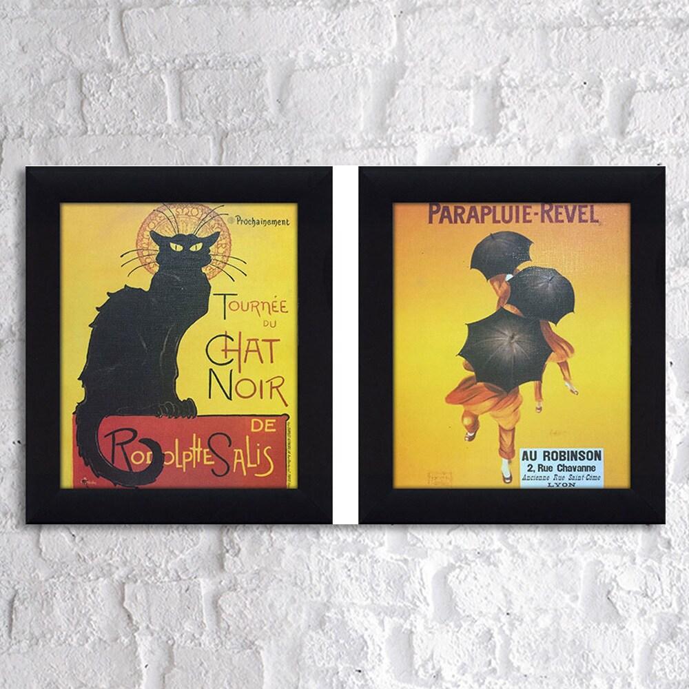 Shop Chat Noir & Parapluie 1 Framed & Canvassed Wall Art (Set of 2 ...