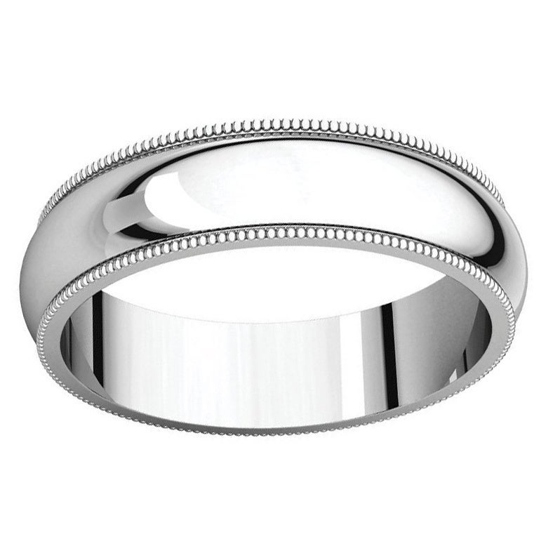 Sterling Silver Halfround Milgrain Wedding Band Ring White Free