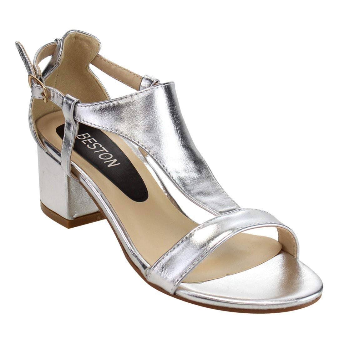 Women's T-strap Cutout Side Block Heel Dress Sandals