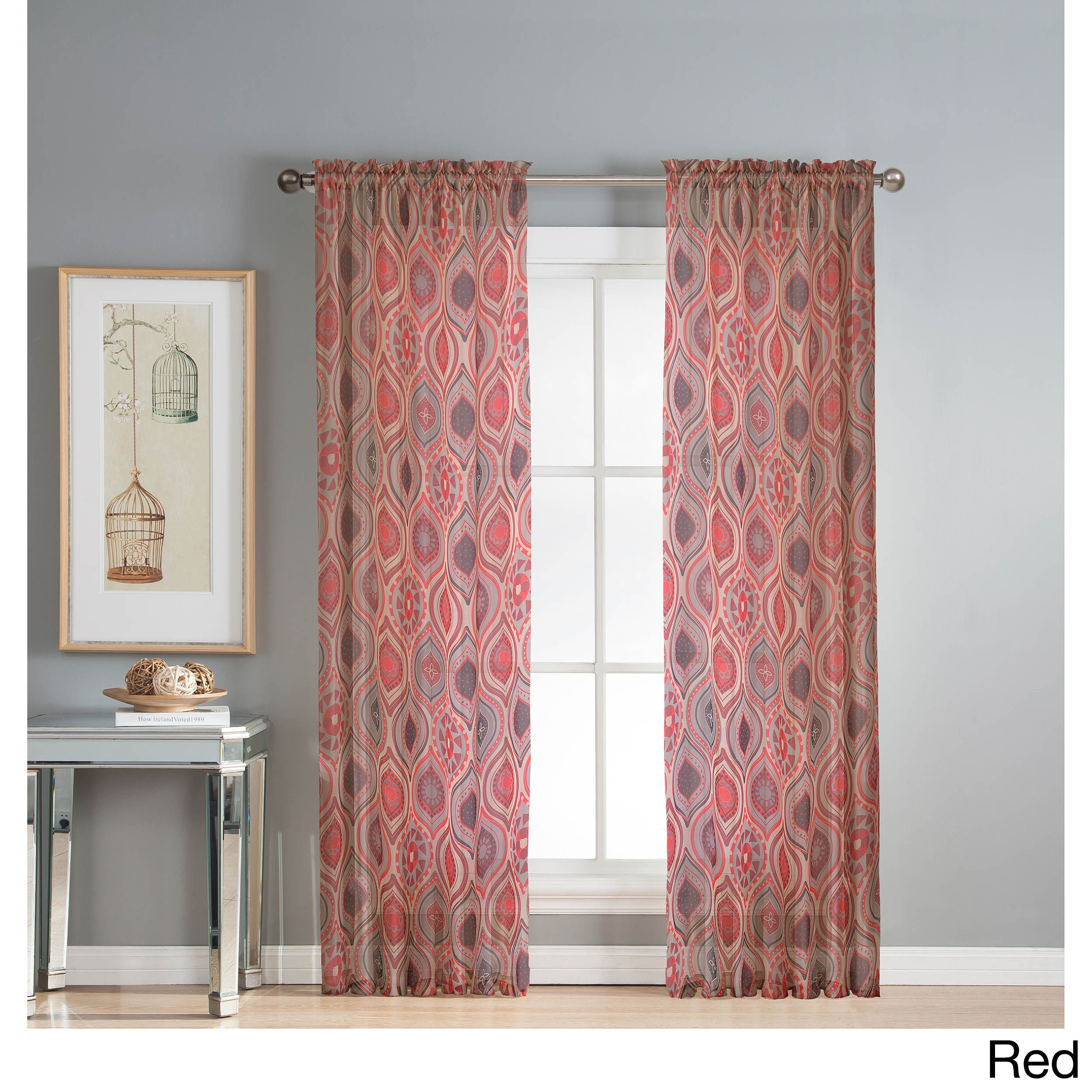 Shop Window Elements Olina Printed Sheer Extra Wide 96 Inch Grommet Curtain Panel