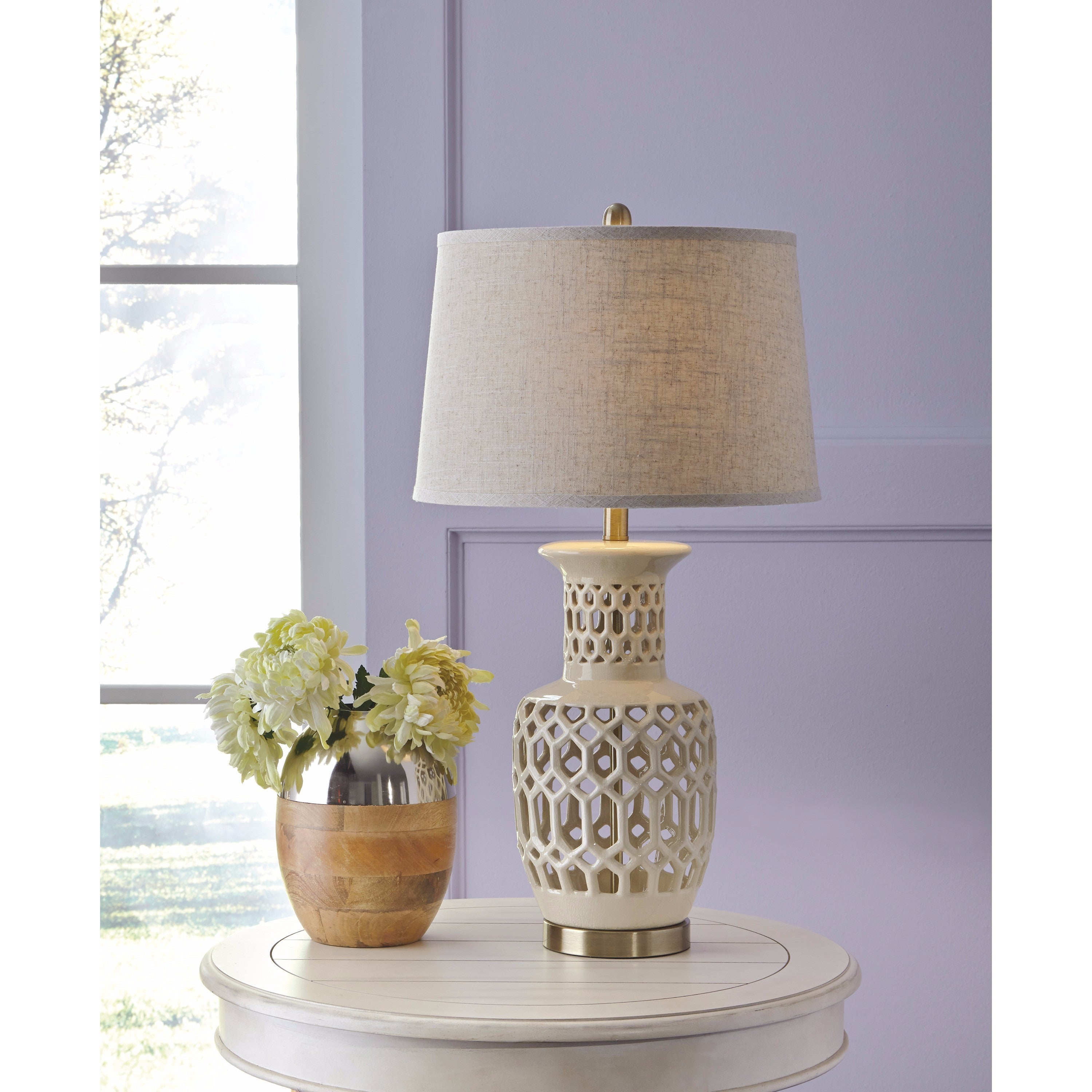 Shop Jayme Cream 30 Inch Ceramic Table Lamp Free Shipping Today