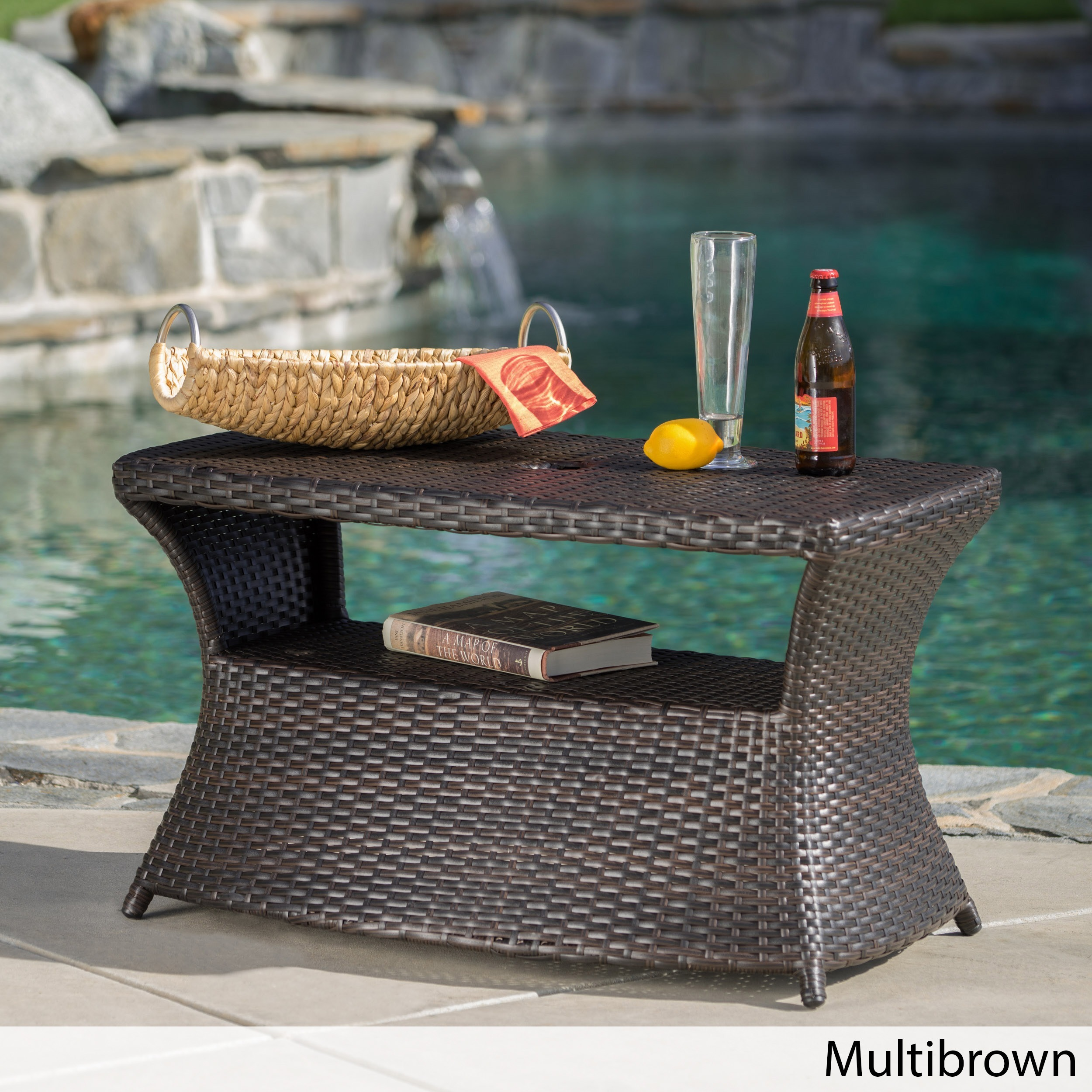 Berkeley Outdoor Wicker Side Table with Umbrella Hole by