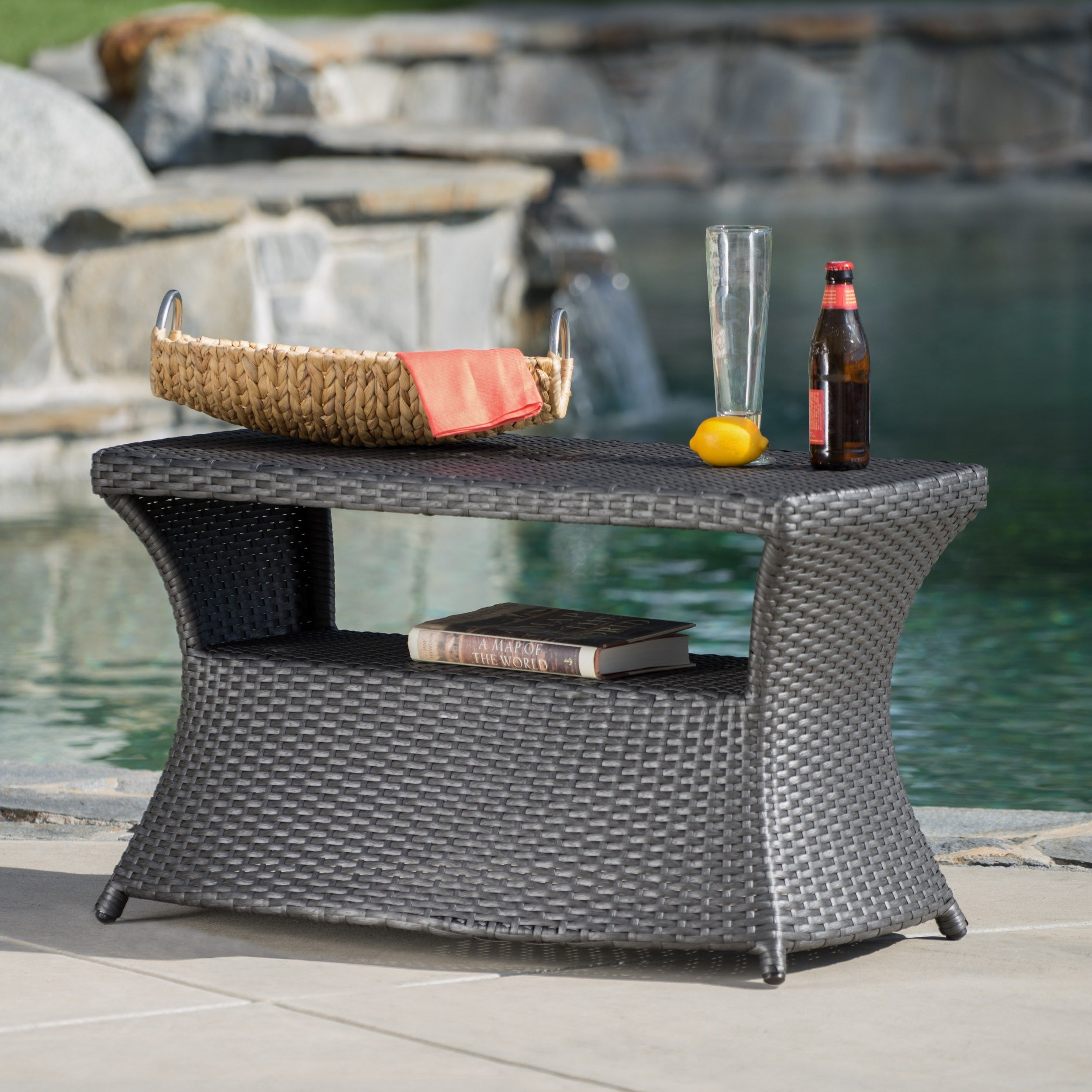 Shop Berkeley Outdoor Wicker Side Table With Umbrella Hole By - All weather wicker side table