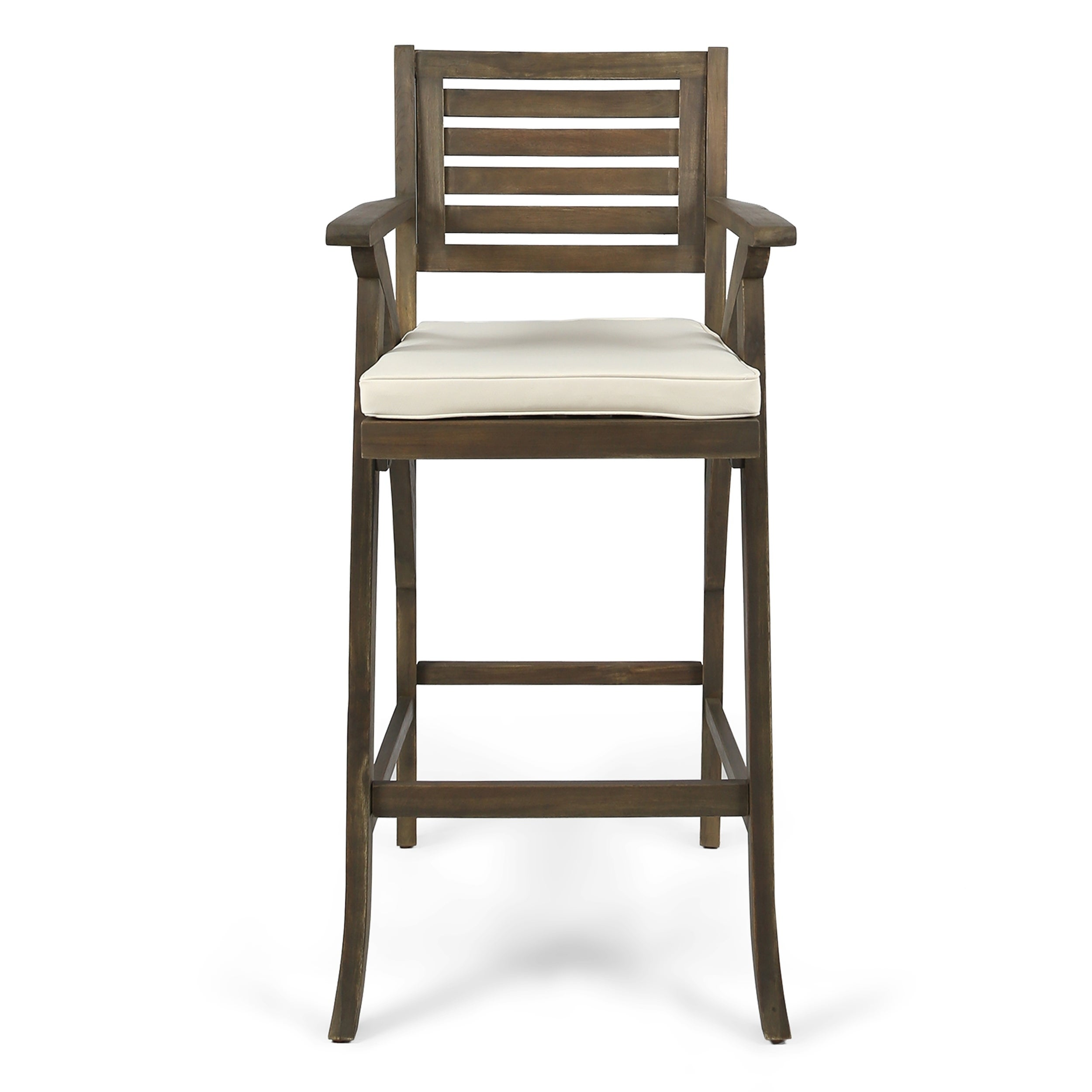 Hermosa Outdoor Acacia Wood Barstool with Cushion (Set of 2) by ...