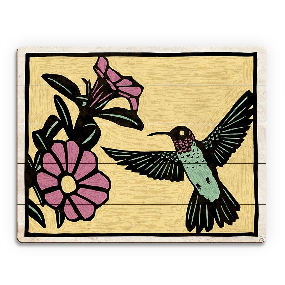 Shop \'Woodblock Hummingbird on Yellow\' Wood Wall Art - On Sale ...