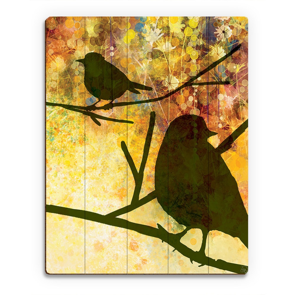 Spring Olive Birds\' Print on Wood Wall Art - Free Shipping Today ...