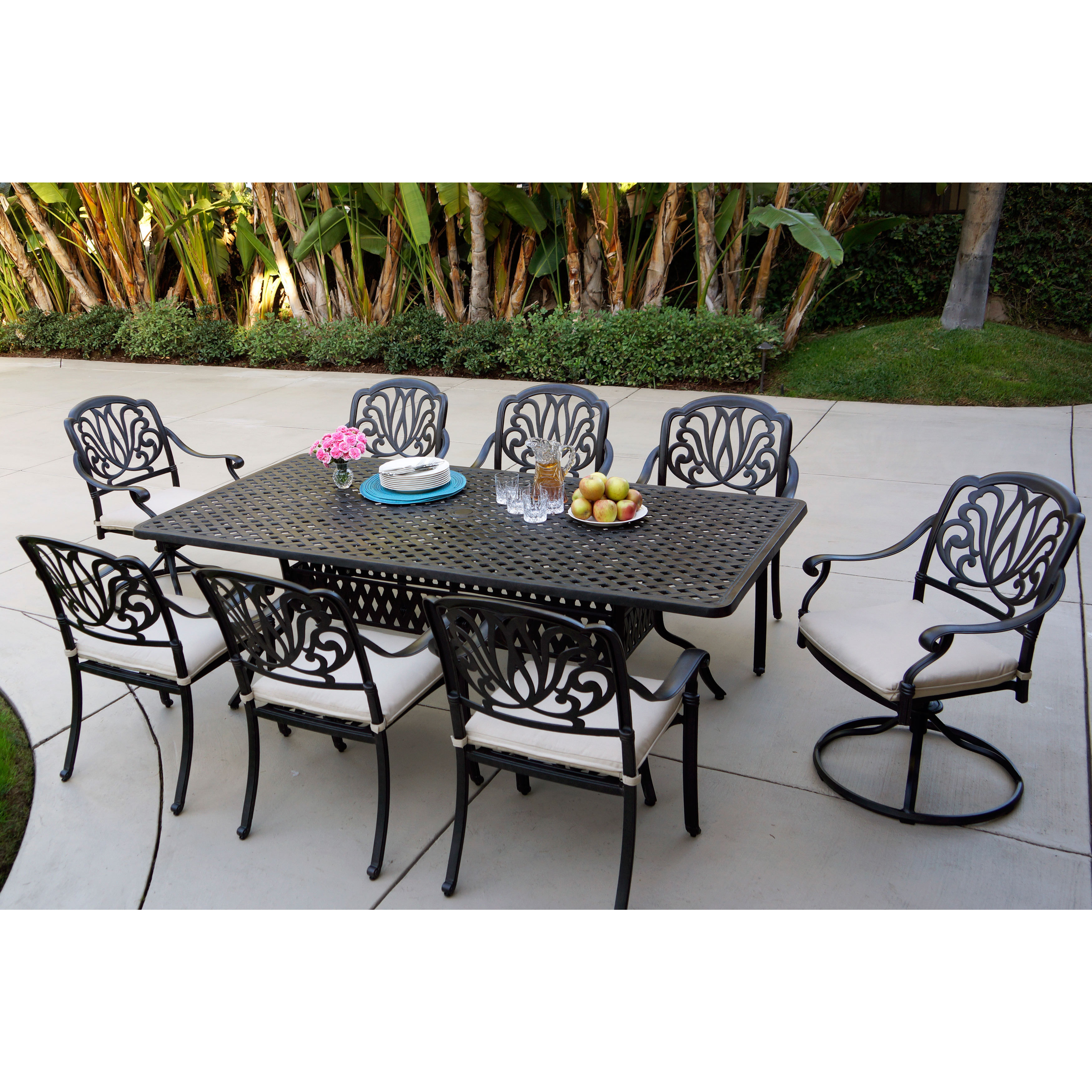 Sicily Antique Bronze 9 Piece Outdoor Dining Set With Seat Cushions
