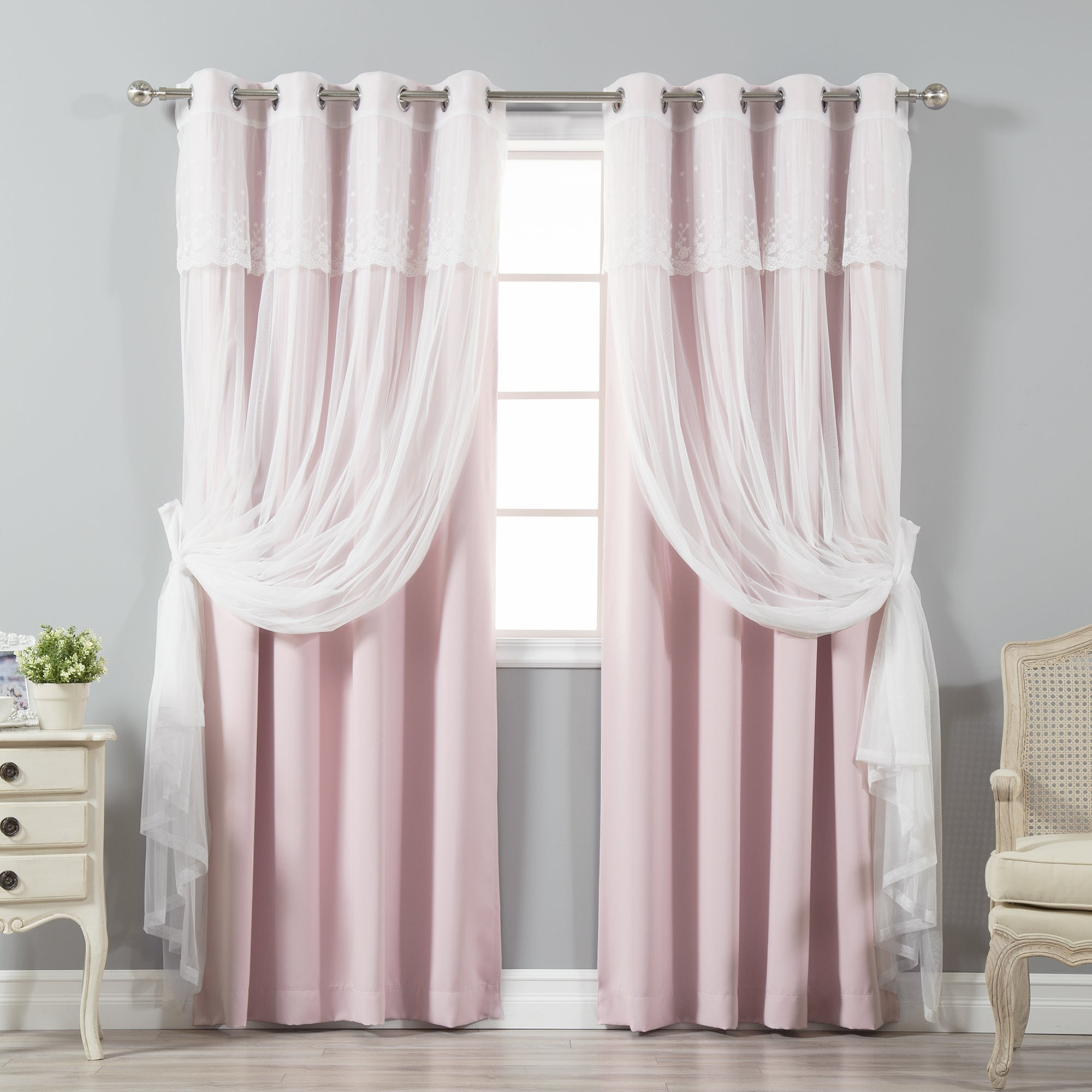 Aurora Home Tulle Sheer with Attached Valance and Blackout Mix and