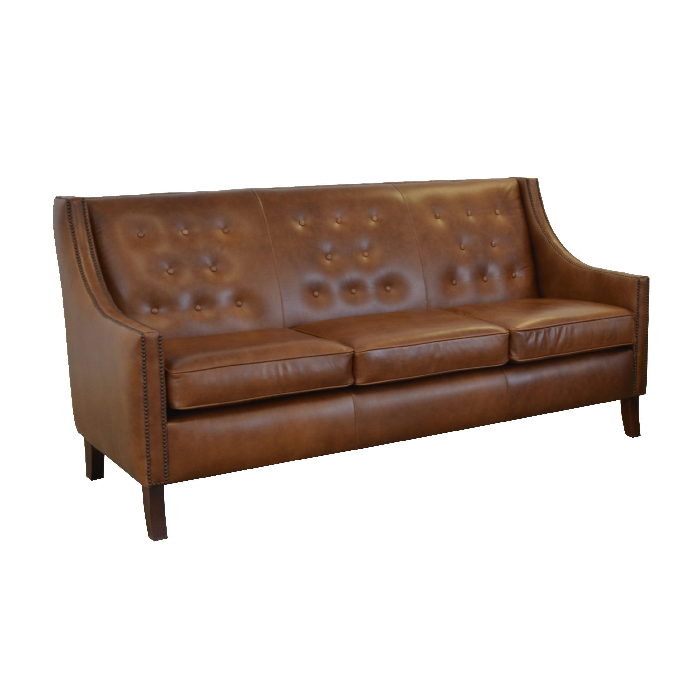 Shop Woburn Genuine Top Grain Leather Tufted And Nailhead Trimmed