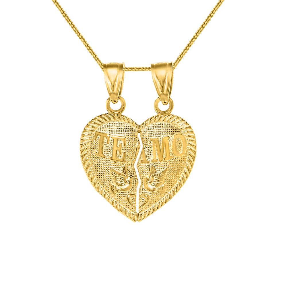 Very best 14k Yellow Gold 'Te Amo' Split Heart Pendant and Yellow Gold  OF23