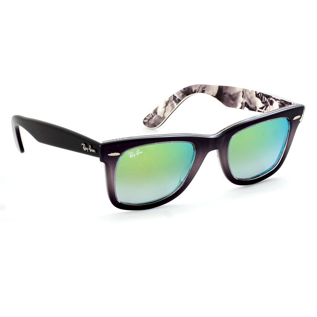 8108111974 Shop Ray-Ban Wayfarer Floral RB2140 11994J Grey Black Frame Green Gradient  Flash Lens Sunglasses - Free Shipping Today - Overstock - 14220539