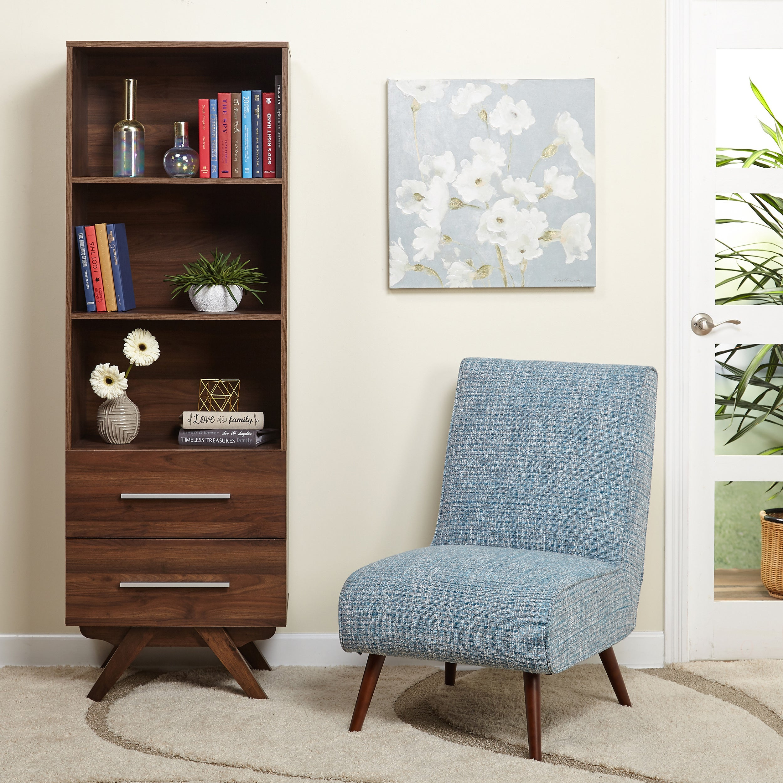 Living Room Drawers. Simple Living Ashfield Mid Century Walnut finish Bookshelf Tower with Two  2 drawers Free Shipping Today Overstock com 20813196
