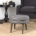 HomePop Mid Mod Oval Stool Wood Legs Dark Grey and Natural